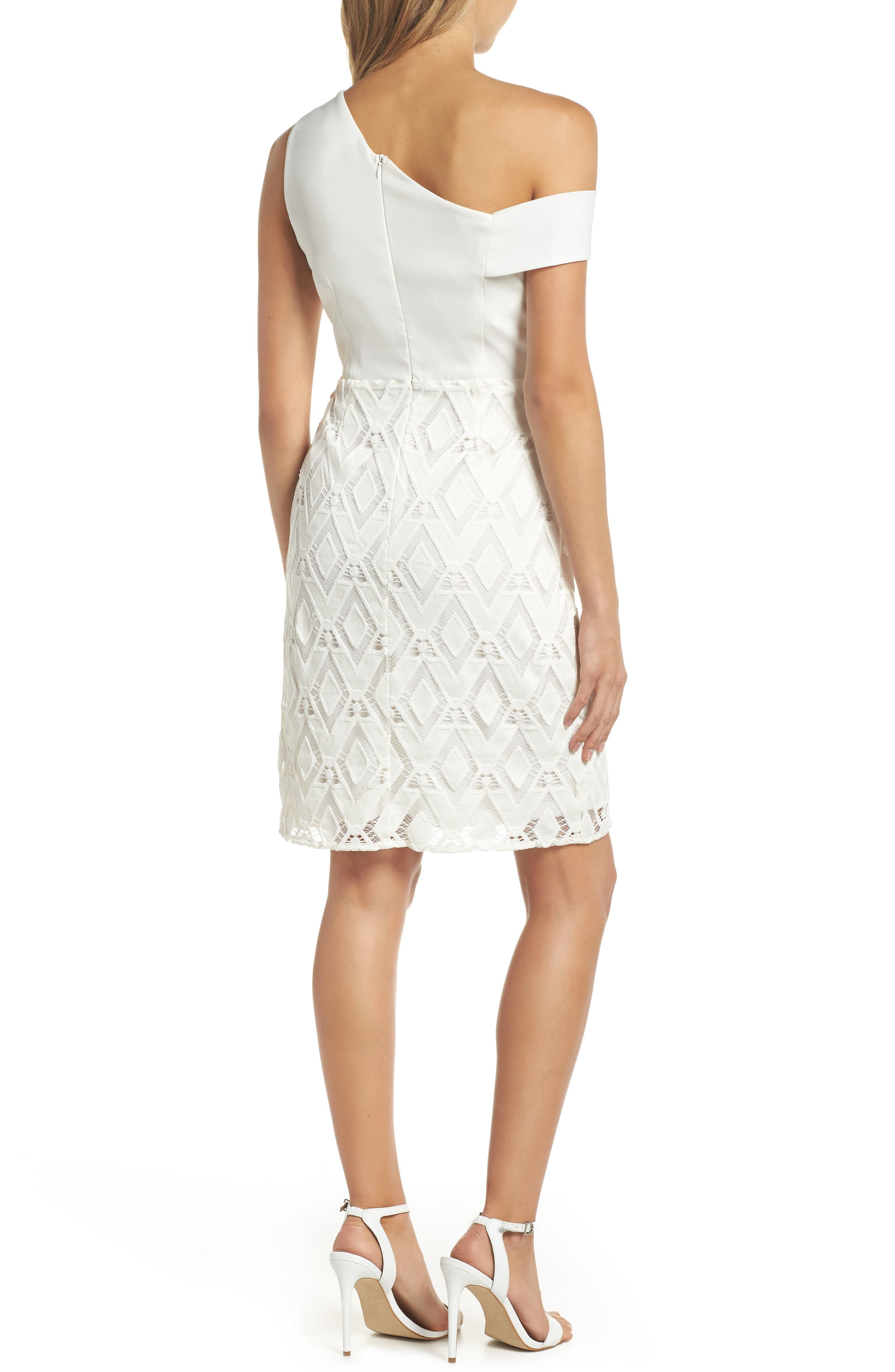 One-Shoulder Lace Sheath Dress,                             Alternate thumbnail 2, color,                             White