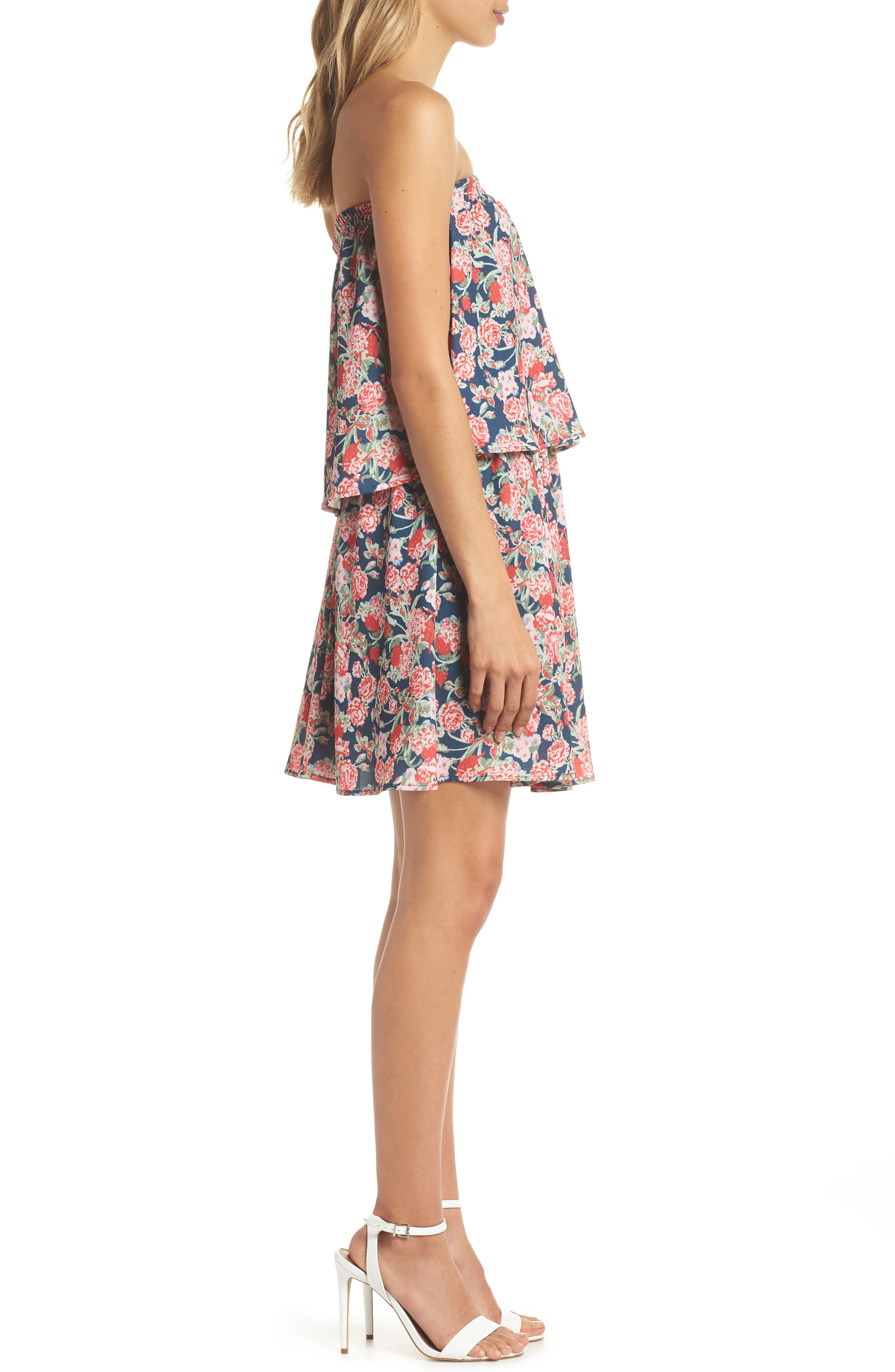 Print Strapless Popover Dress,                             Alternate thumbnail 3, color,                             Boston