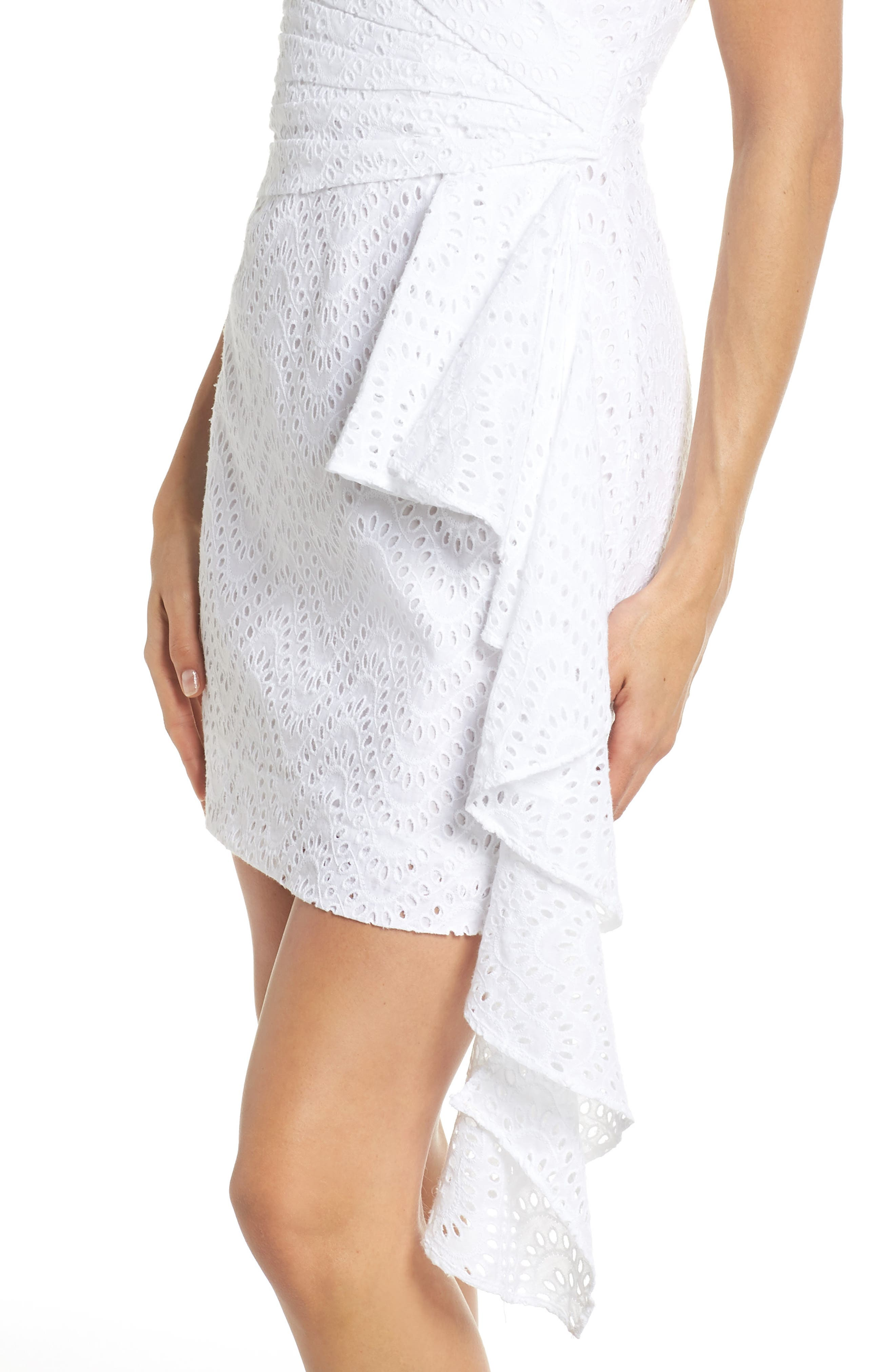Mazzy Off the Shoulder Eyelet Dress,                             Alternate thumbnail 4, color,                             Ivory