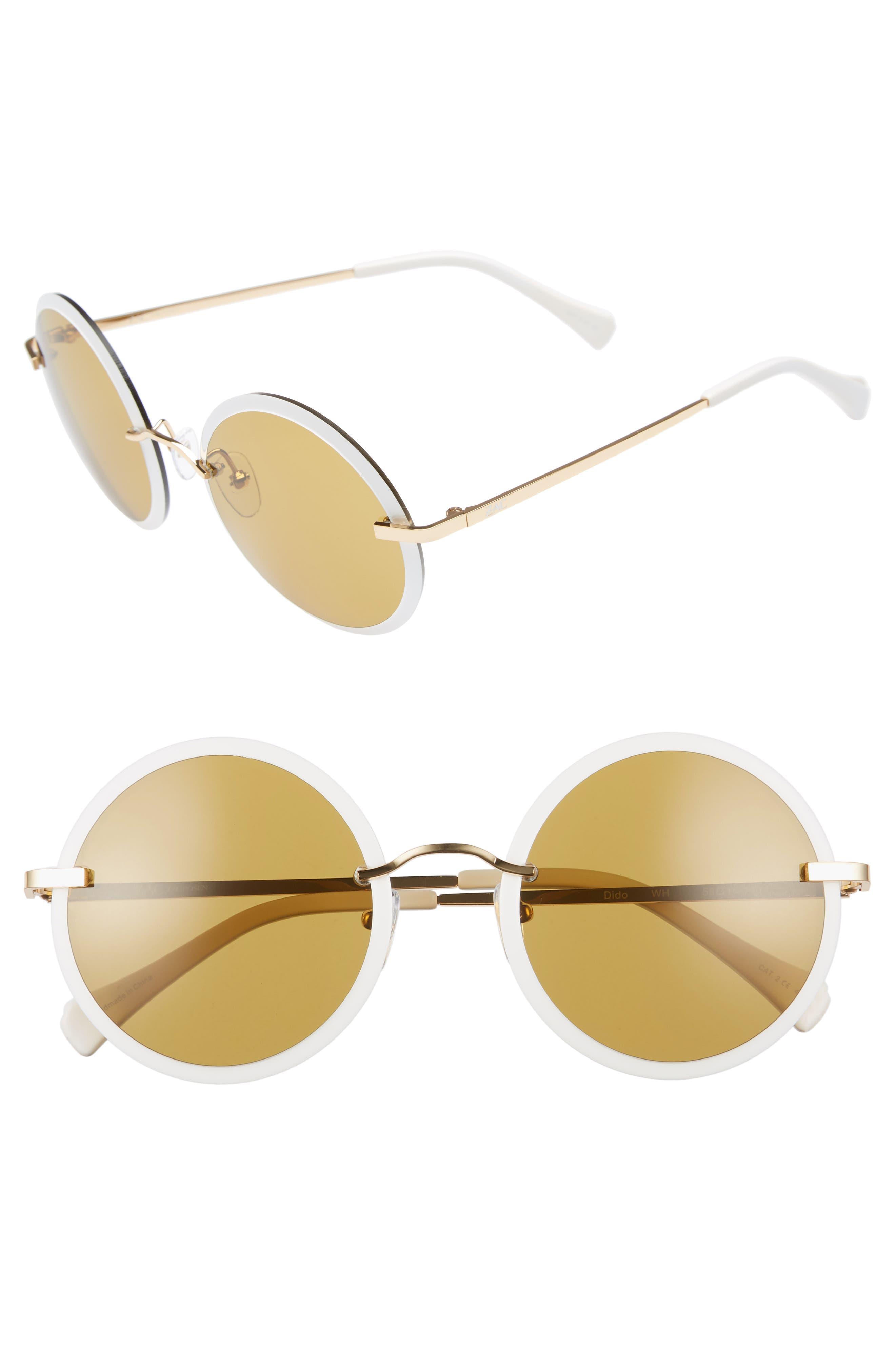Dido 58mm Sunglasses,                             Main thumbnail 1, color,                             White/ Gold