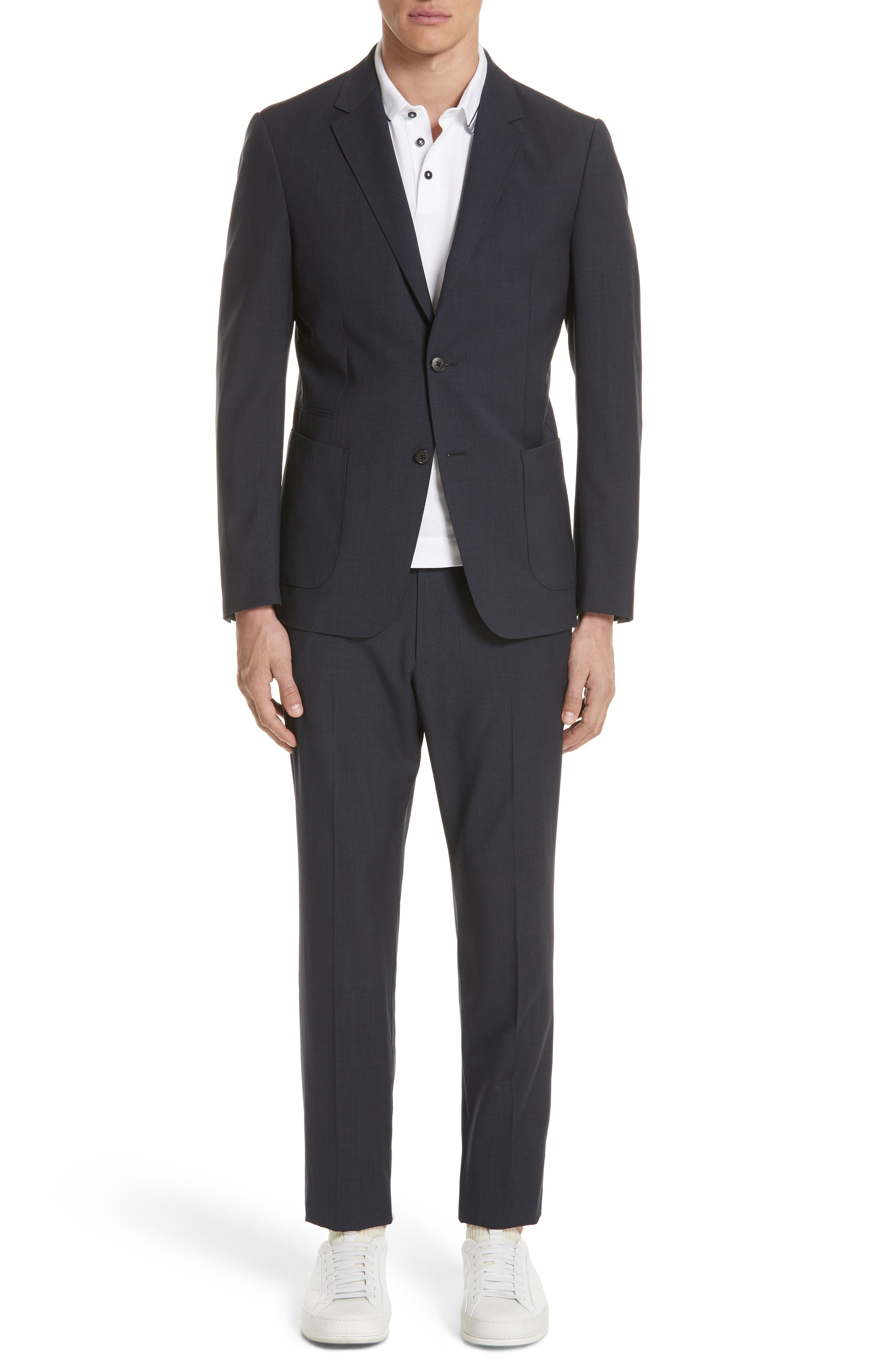 TECHMERINO<sup>™</sup> Wash & Go Trim Fit Solid Wool Suit,                         Main,                         color, Navy Solid