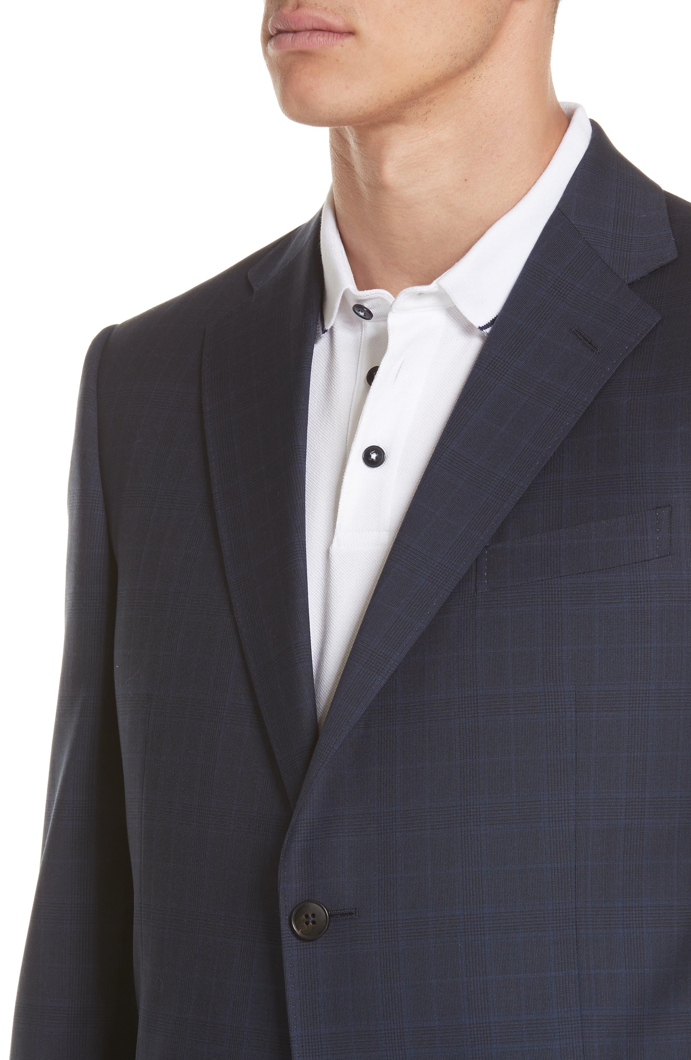 Trim Fit Plaid Wool Suit,                             Alternate thumbnail 4, color,                             Navy Check