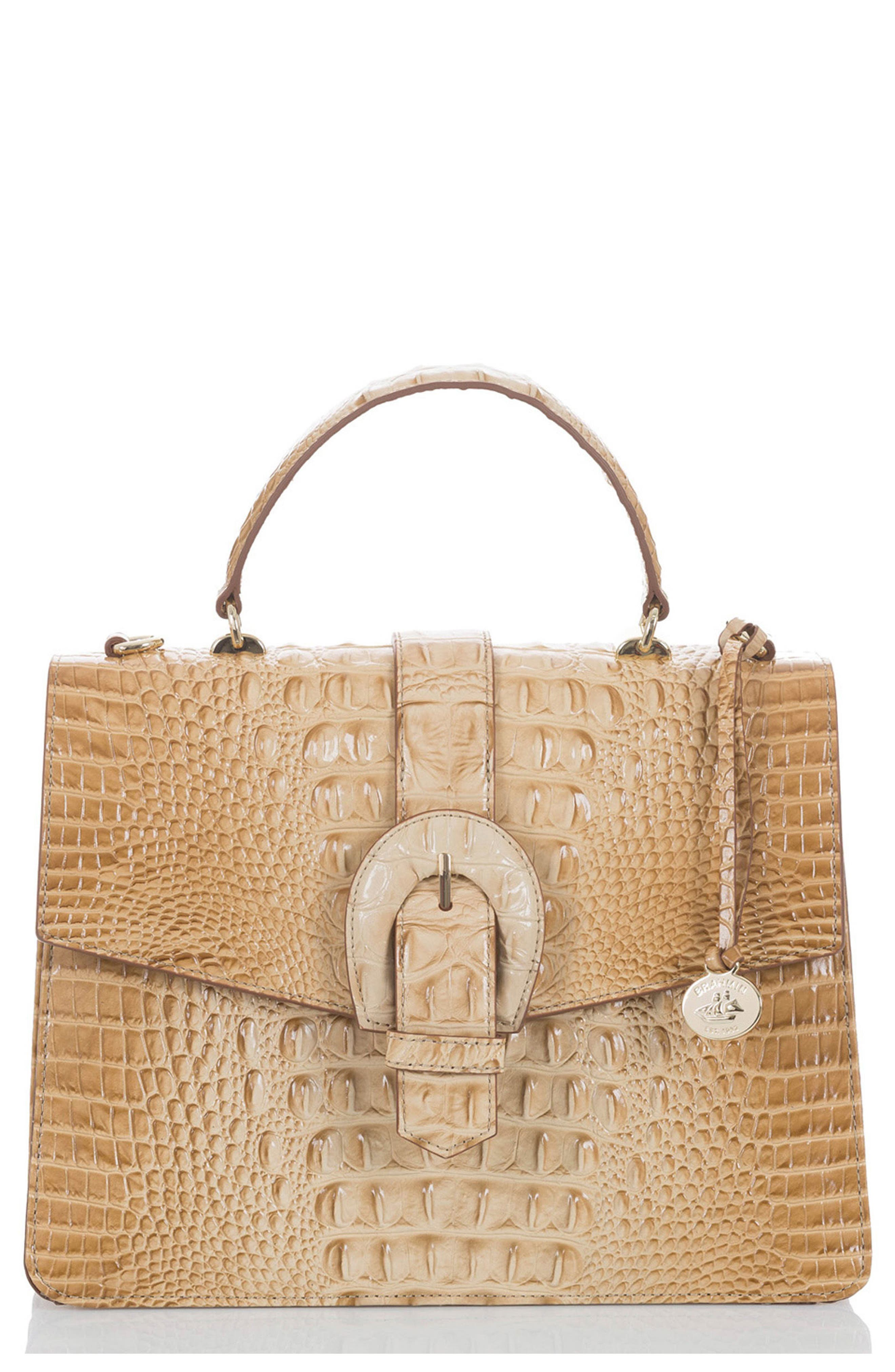 Melbourne Gabriella Embossed Leather Satchel,                         Main,                         color, Chino