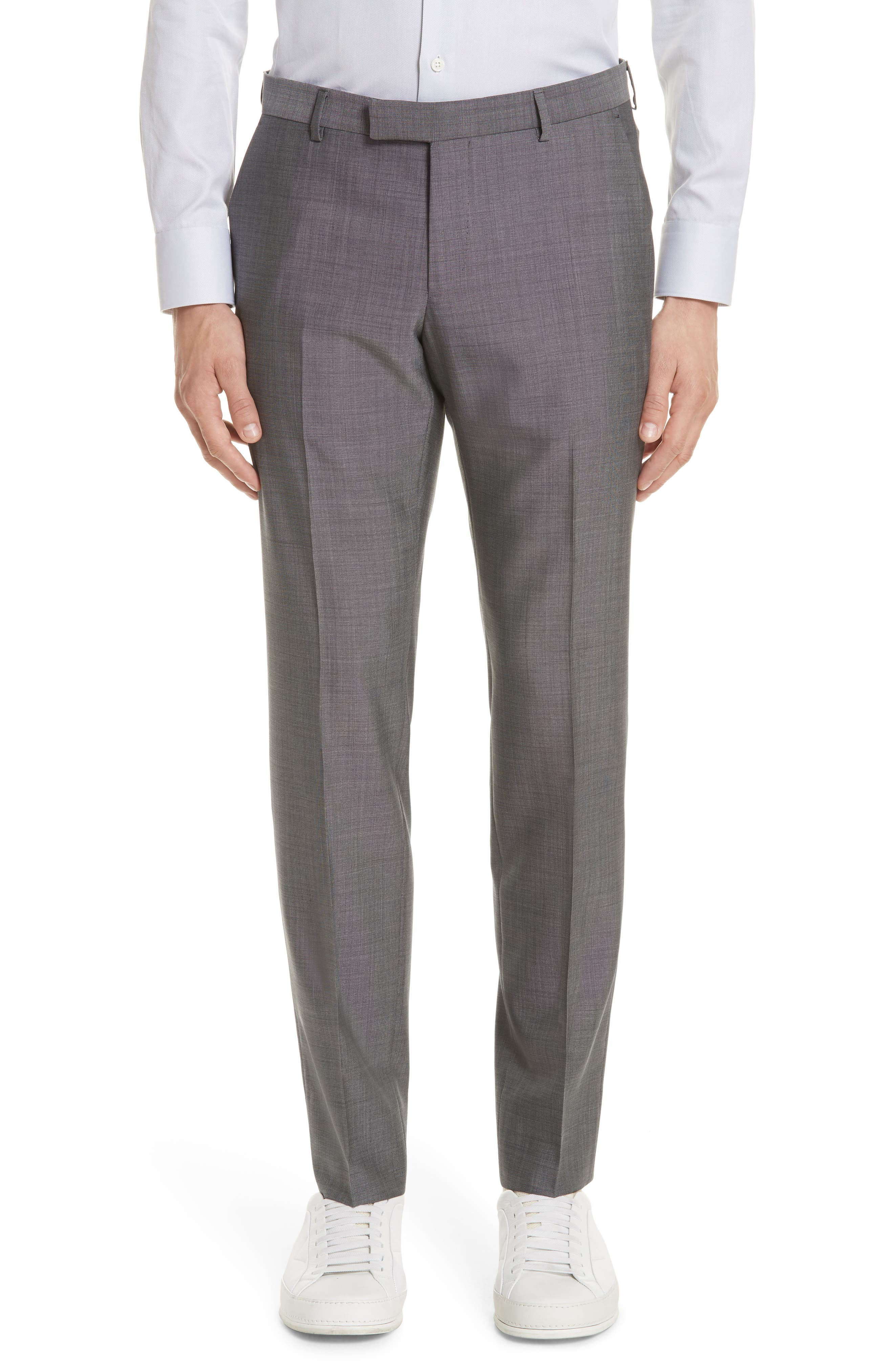 Trim Fit Solid Wool & Silk Suit,                             Alternate thumbnail 6, color,                             Grey
