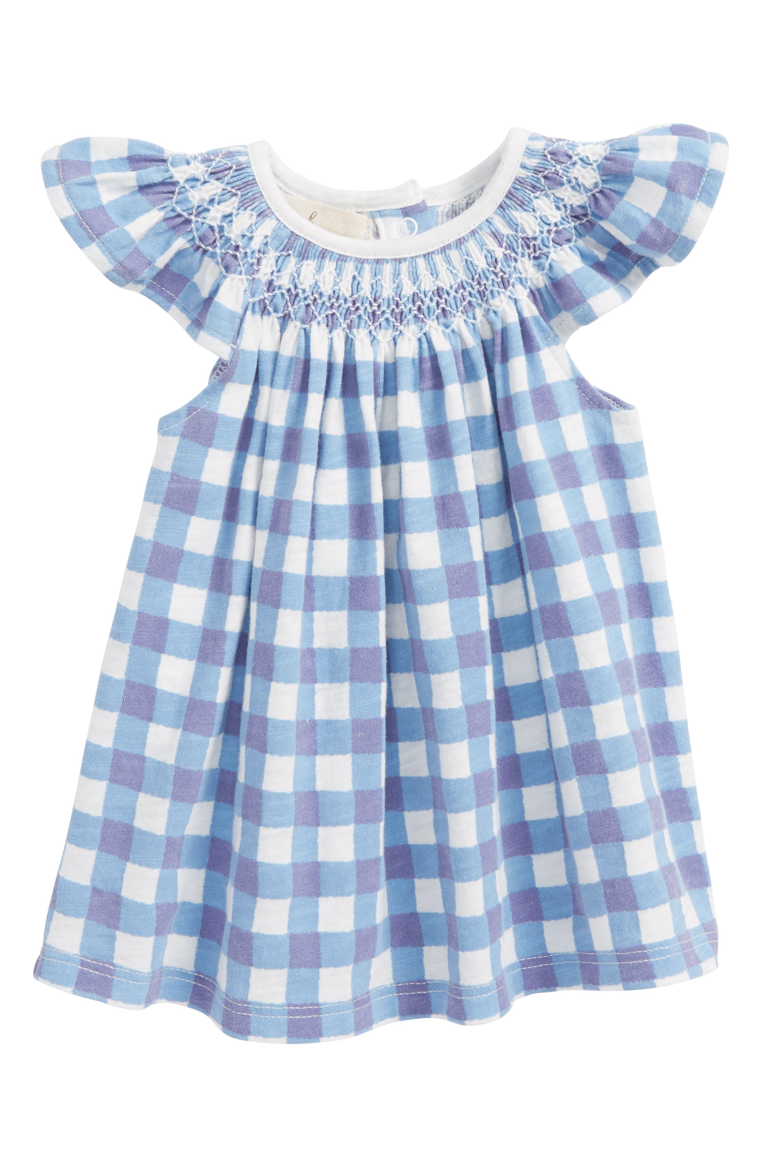 Peek Smocked Gingham Dress,                             Main thumbnail 1, color,                             Periwinkle