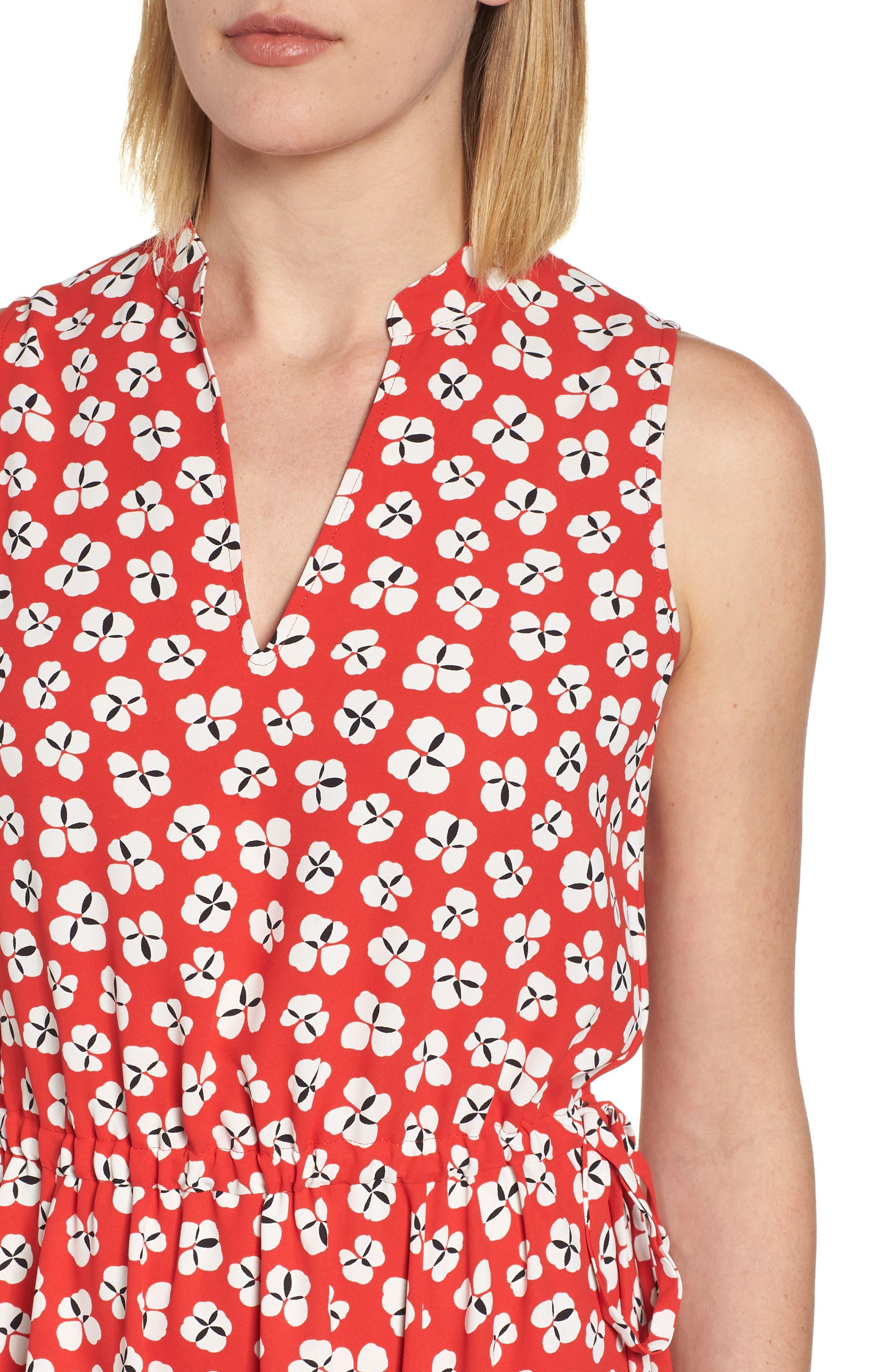 Zuma Petal Drawstring Midi Dress,                             Alternate thumbnail 4, color,                             Tomato/ Parchment Combo