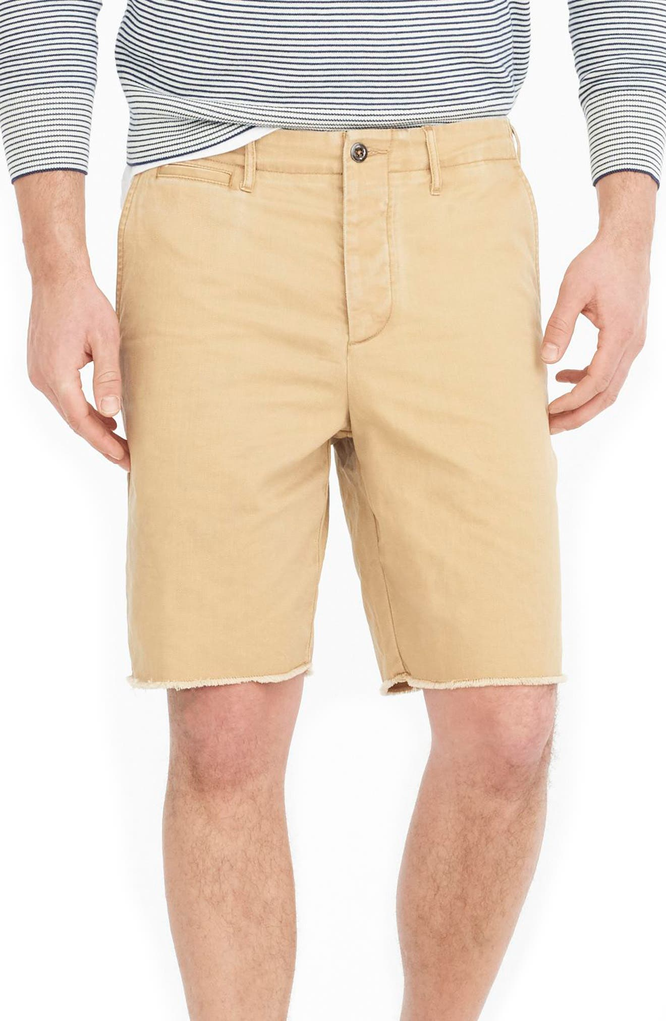 J.Crew Distressed Officer's Shorts,                         Main,                         color, Golden Khaki