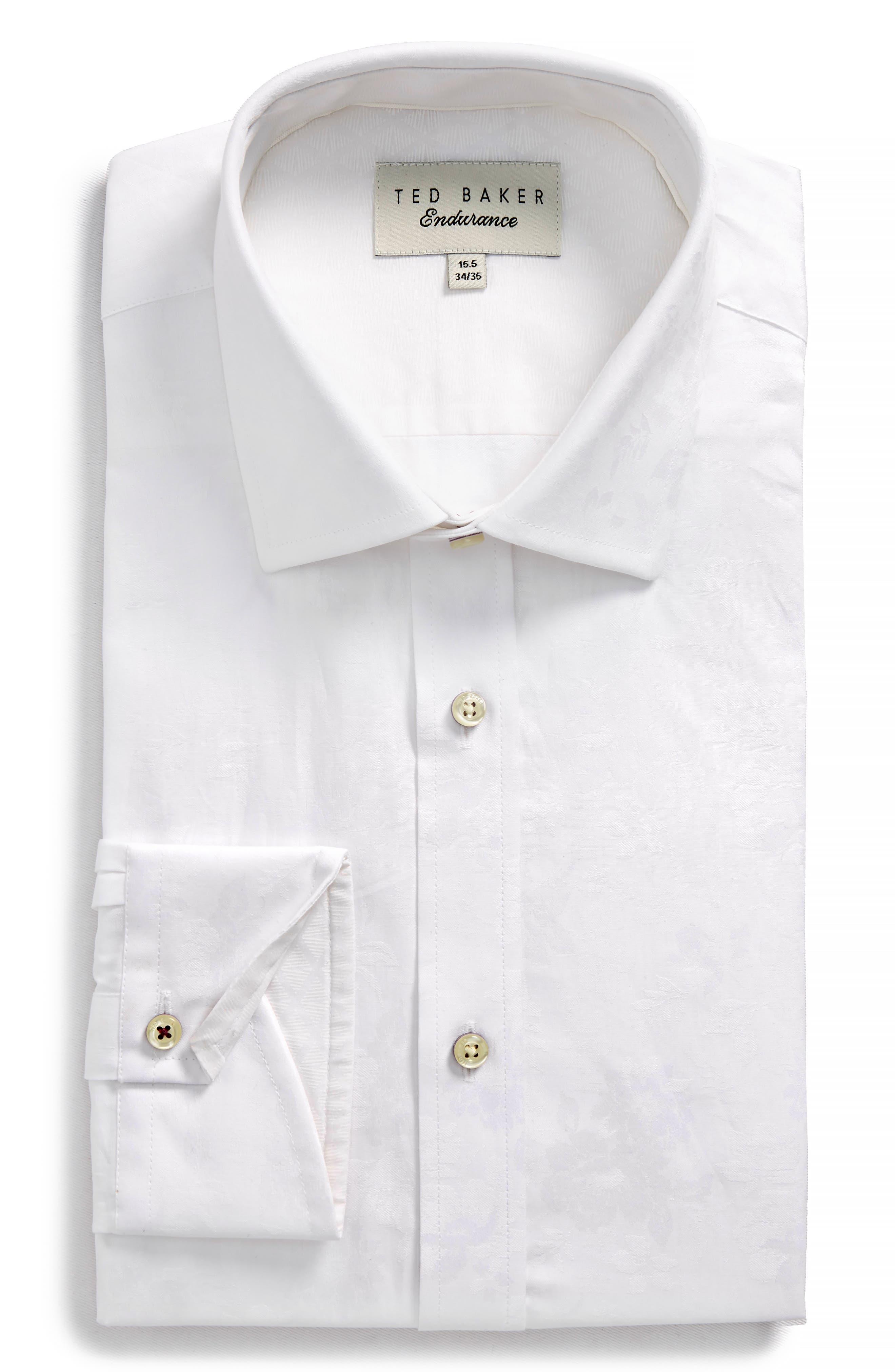 Pampa Trim Fit Floral Dress Shirt,                         Main,                         color, White