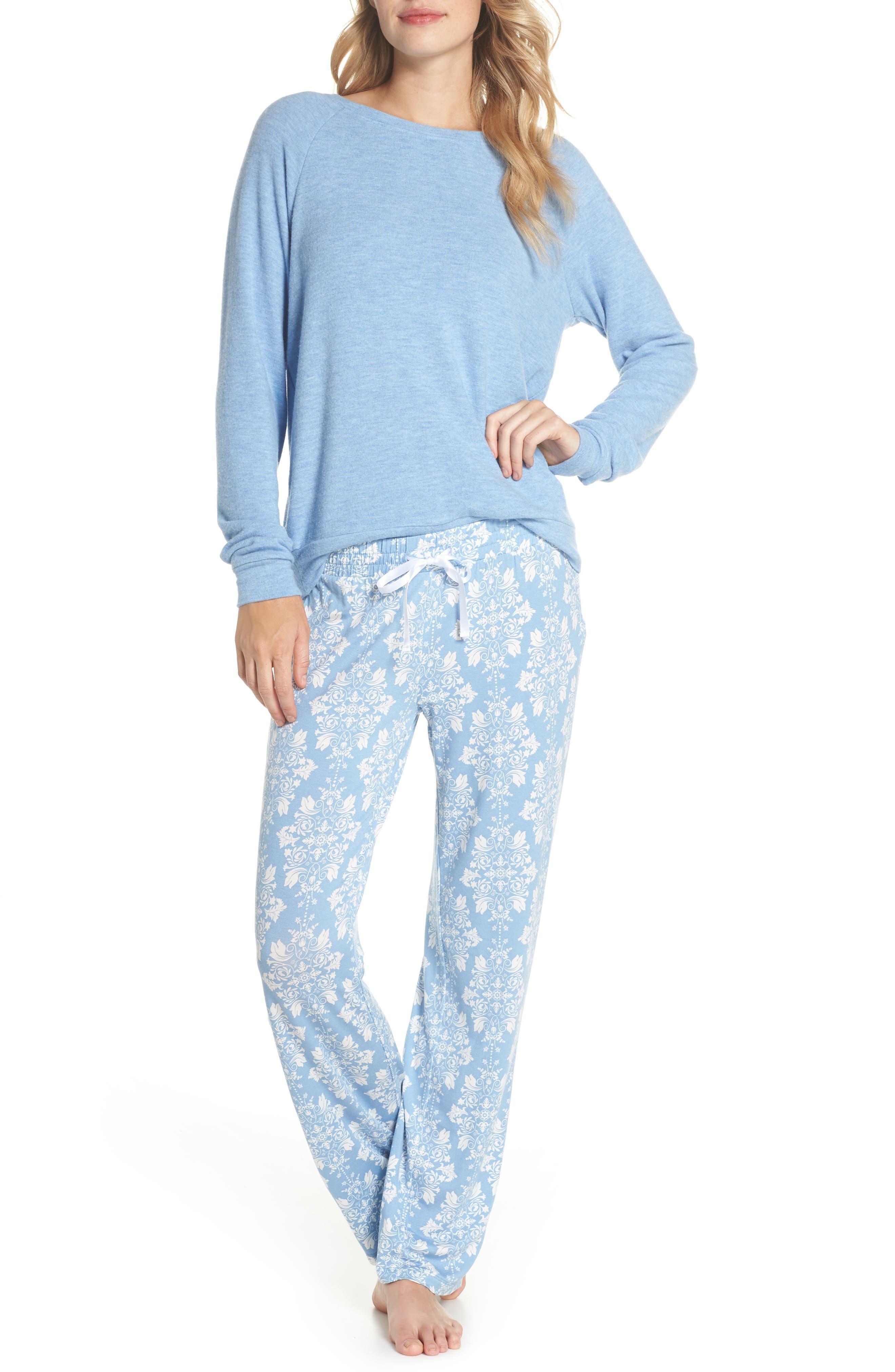 Peachy Pajama Shirt,                             Alternate thumbnail 5, color,                             Blue