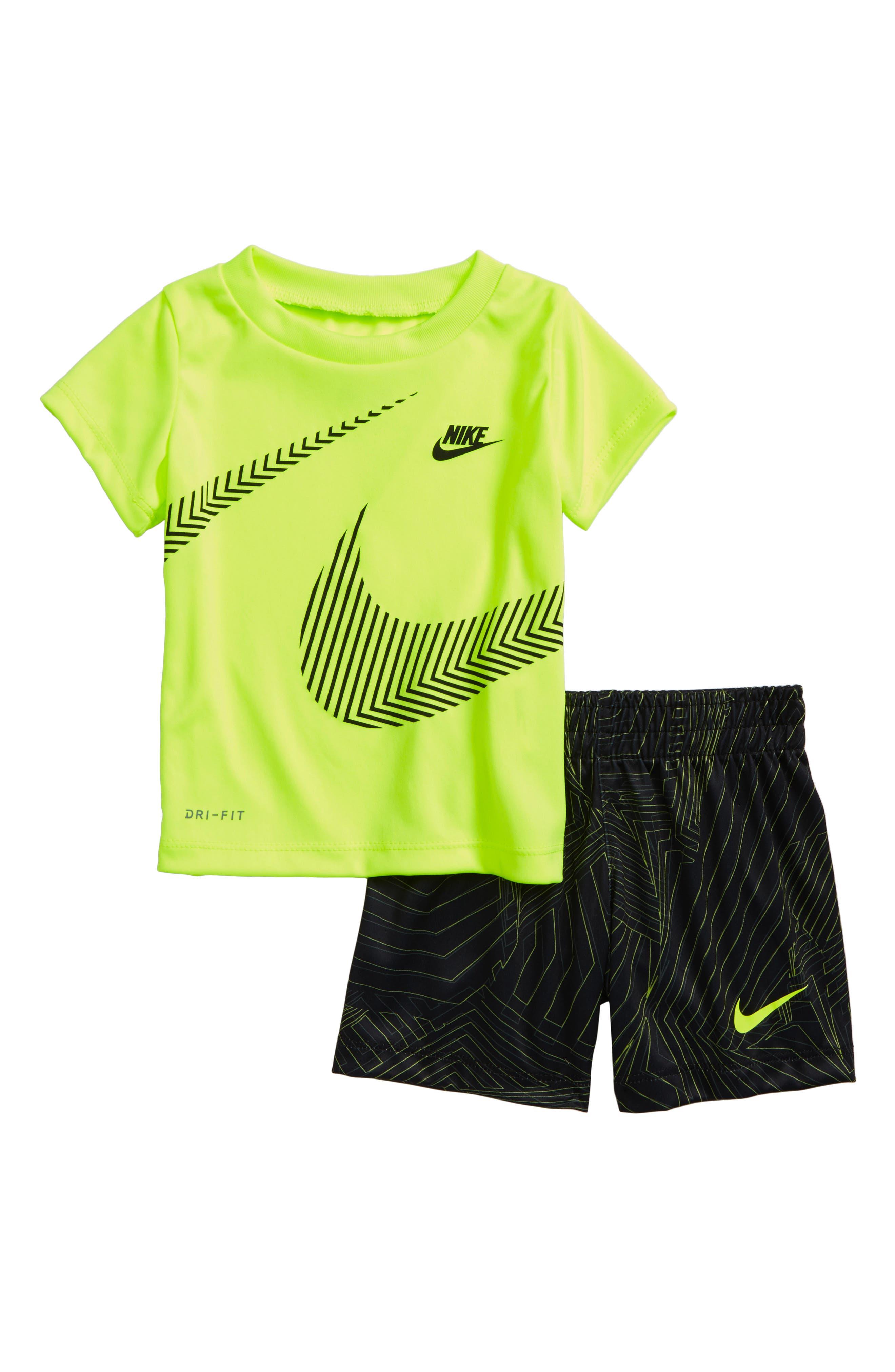 Alternate Image 1 Selected - Nike Wrap Around Swoosh Dry Shirt & Shorts Set (Baby Boys)