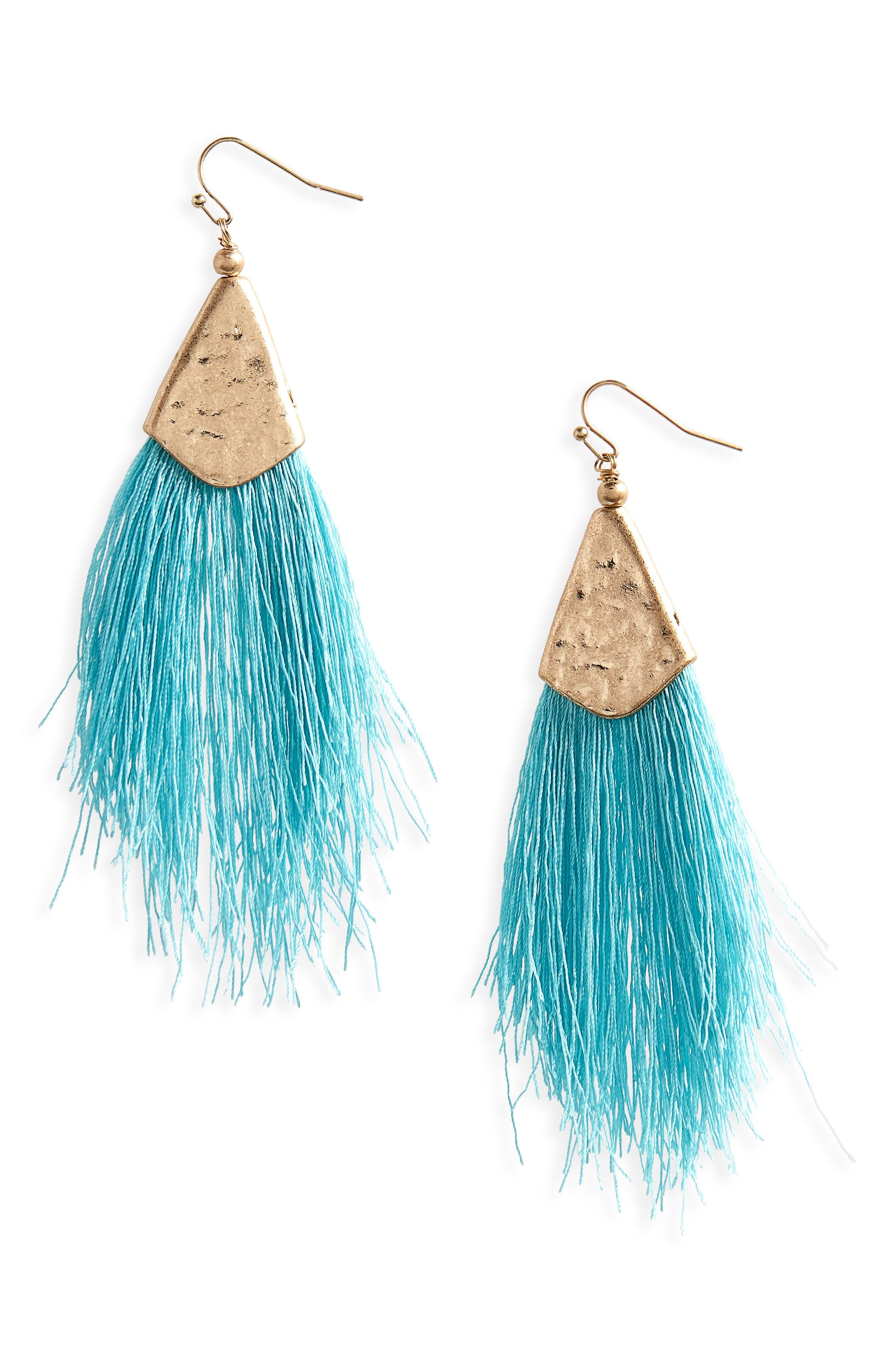 Canvas Jewelry Fan Tassel Earrings