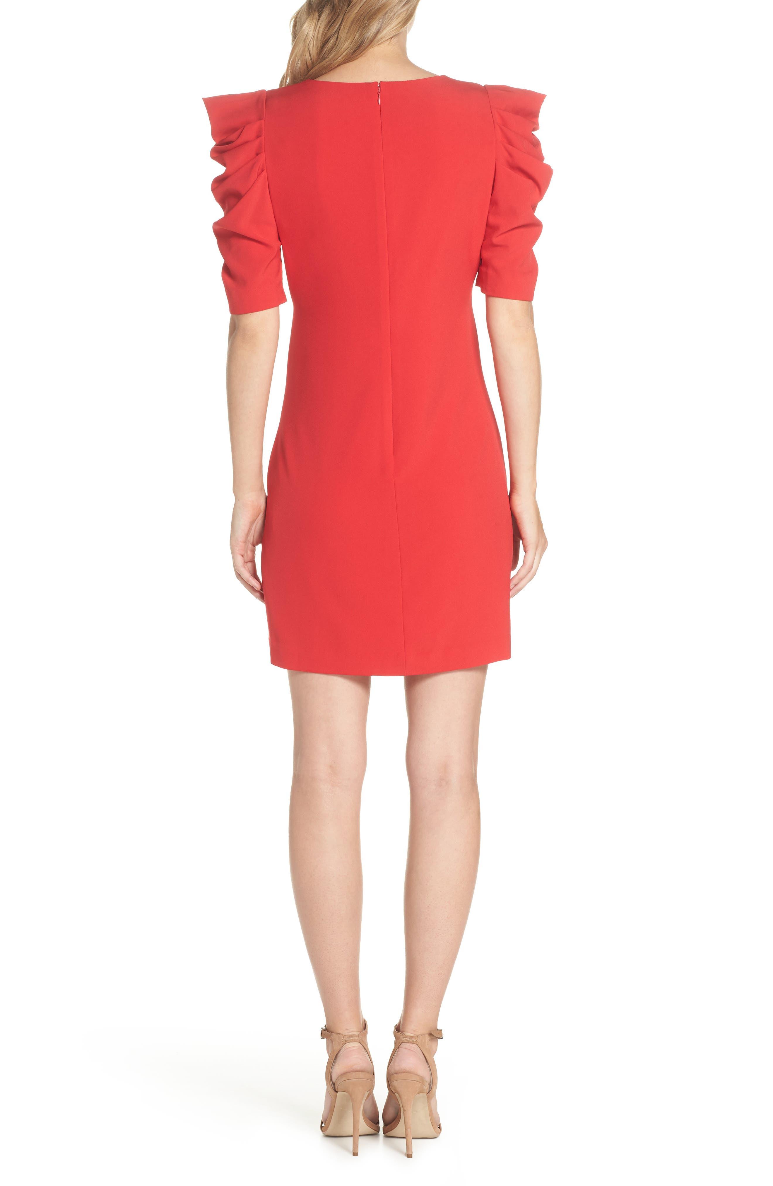 Puff Sleeve Shift Dress,                             Alternate thumbnail 2, color,                             Red Festive