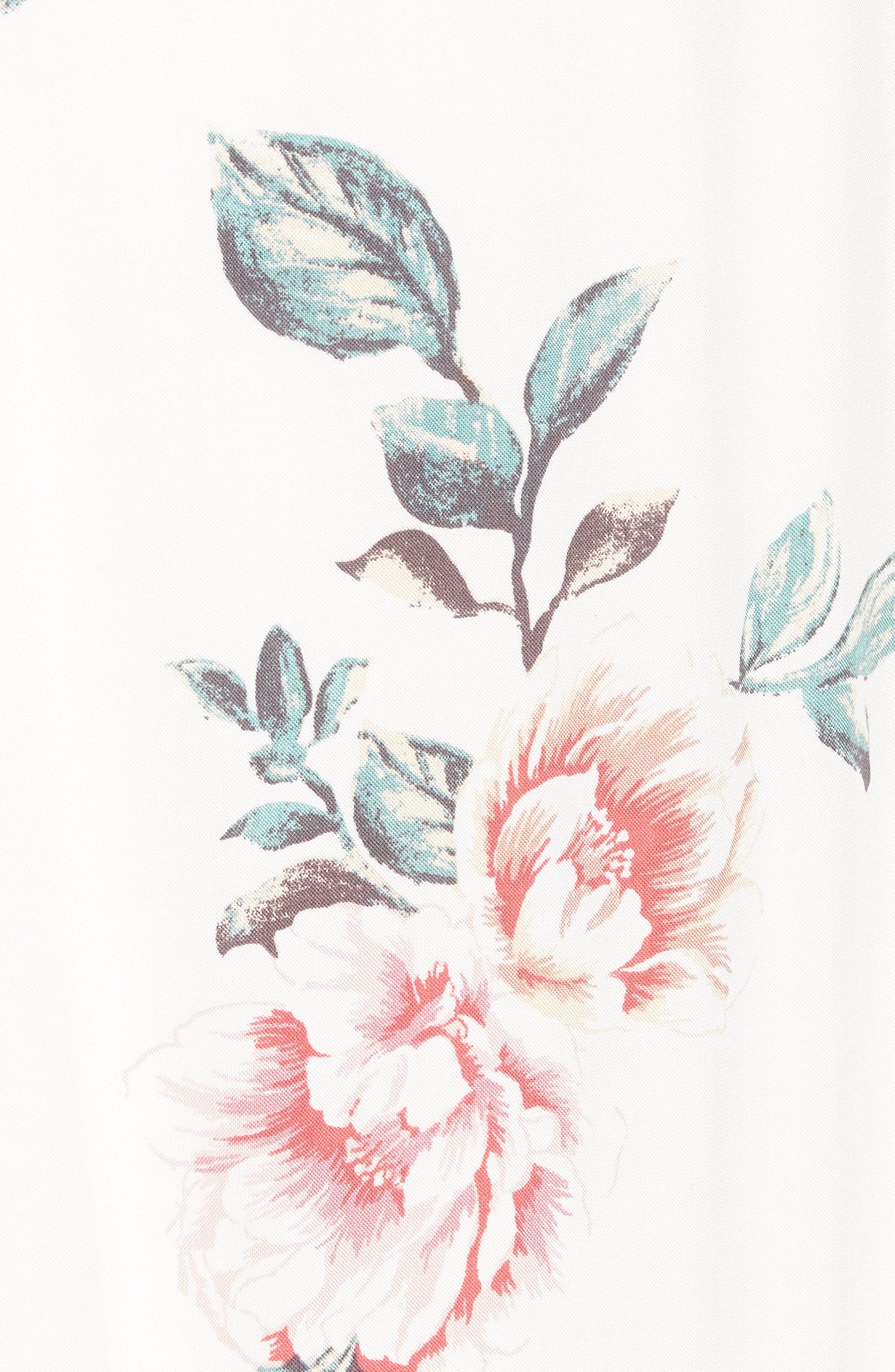 Flutter Sleeve Maxi Dress,                             Alternate thumbnail 6, color,                             Ivory Floral