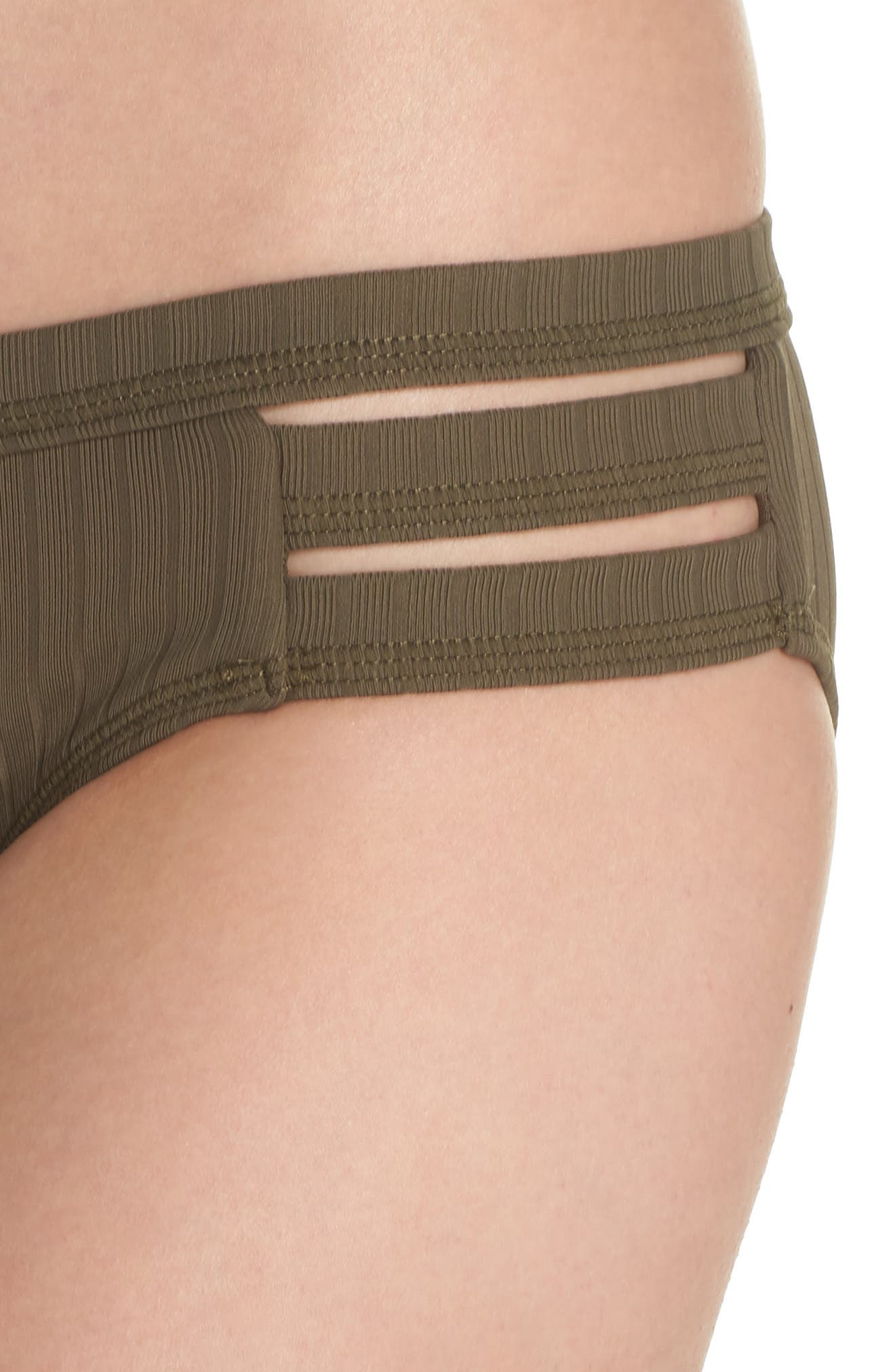 Inka Ribbed Hipster Bikini Bottoms,                             Alternate thumbnail 4, color,                             Dark Olive