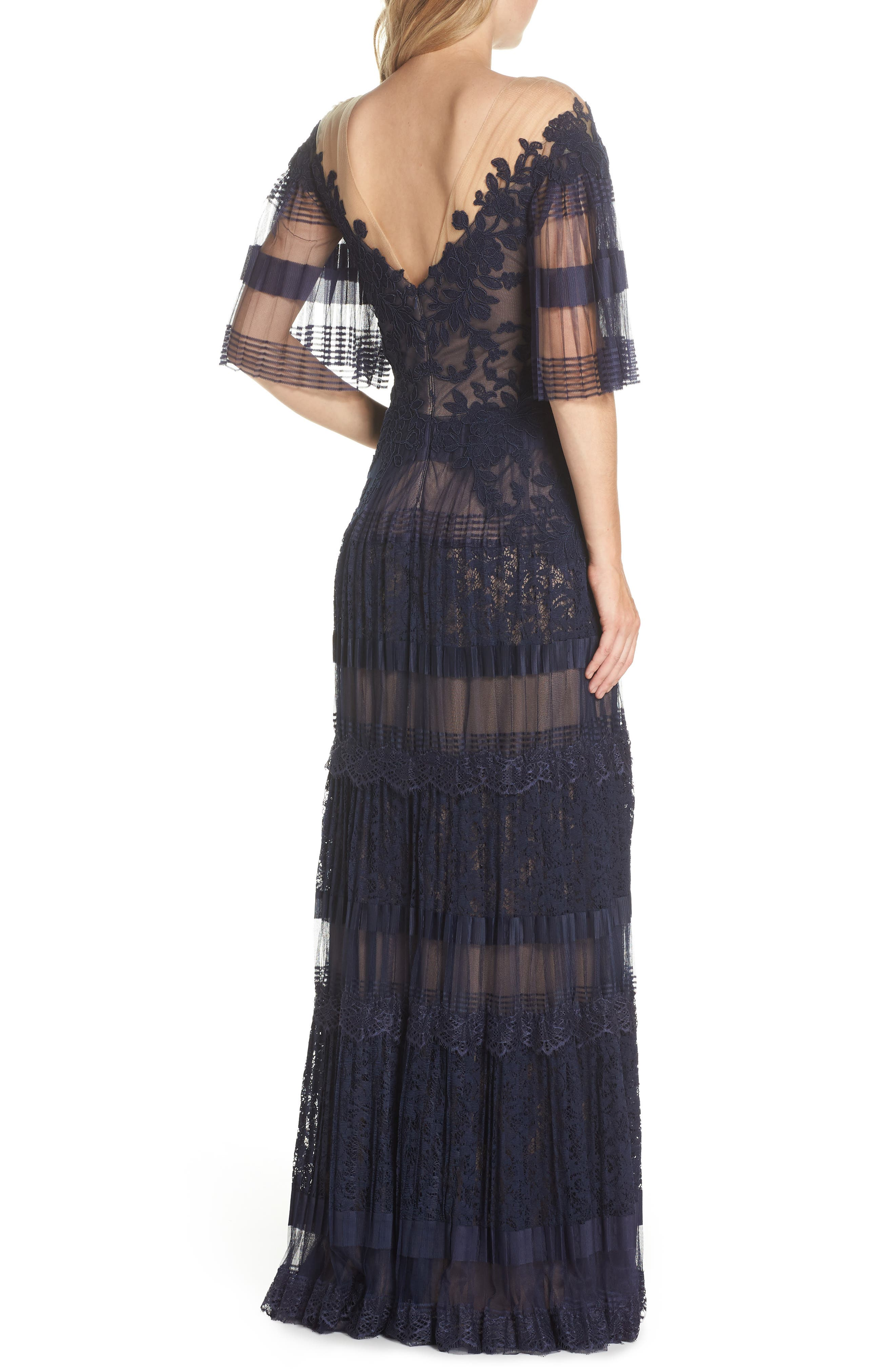 Illusion V-Neck Lace Gown,                             Alternate thumbnail 2, color,                             Navy/ Nude