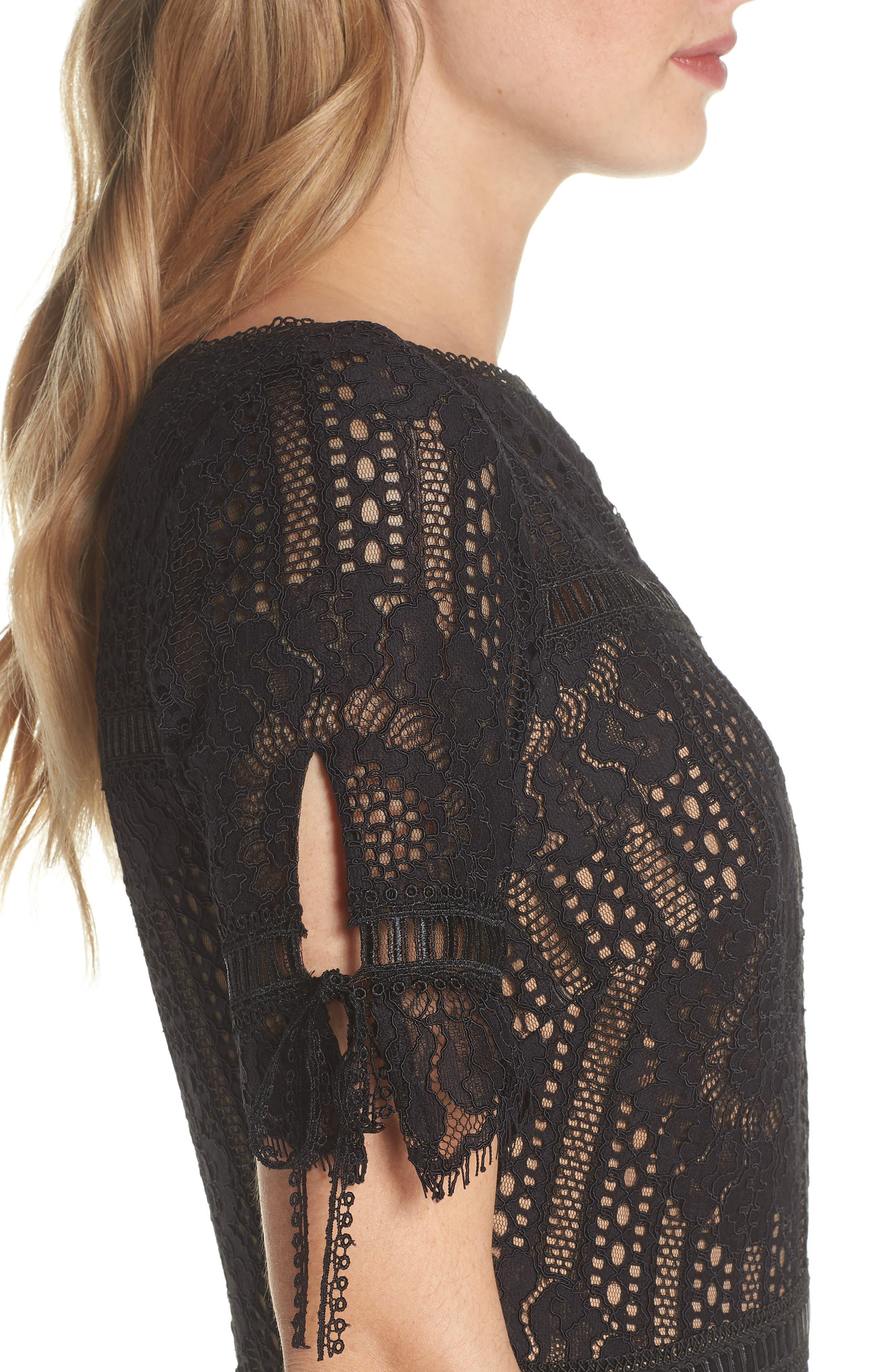 Tie Sleeve Lace Dress,                             Alternate thumbnail 4, color,                             Black/ Nude