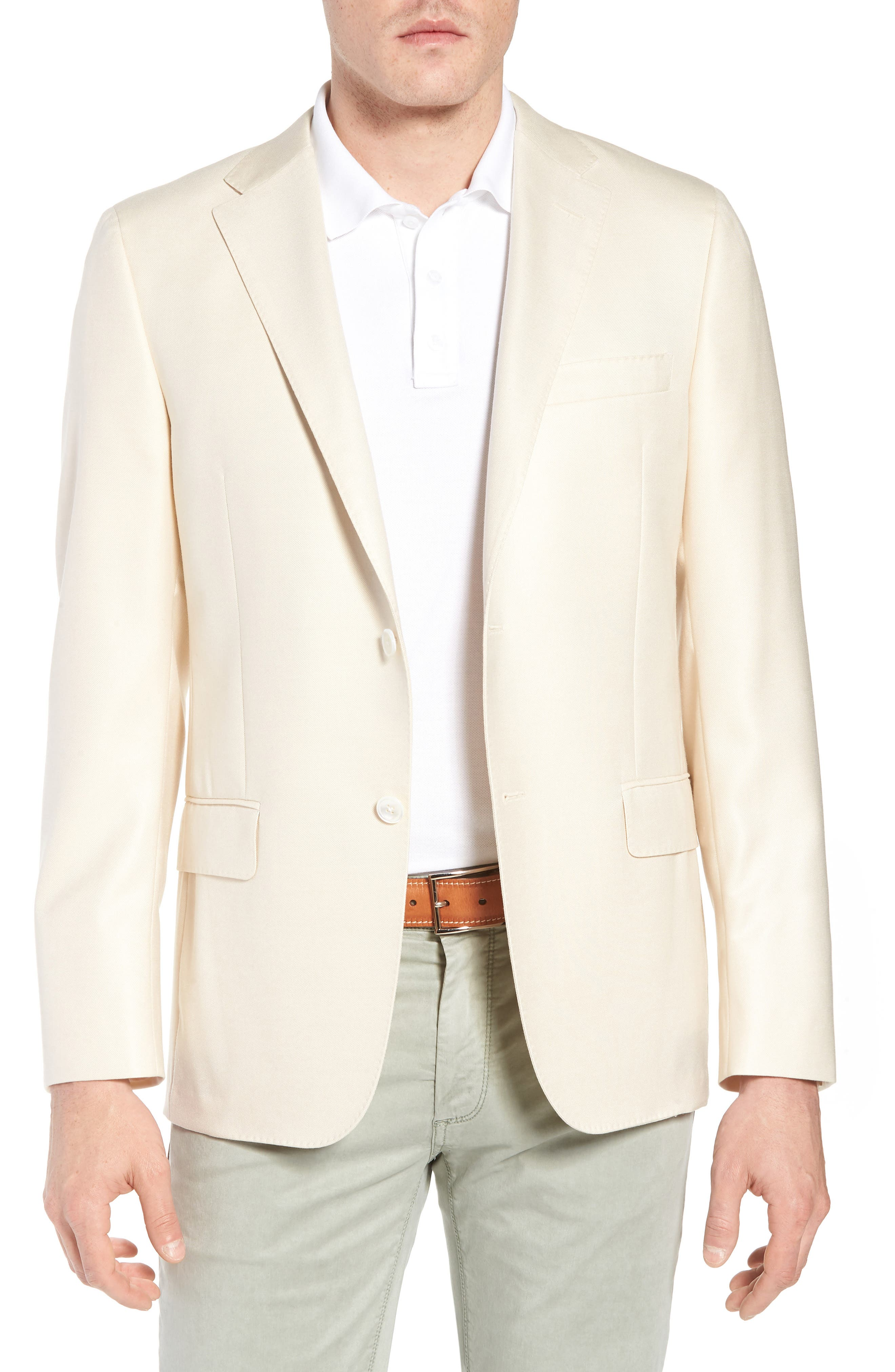 Classic B Fit Wool & Silk Blazer,                         Main,                         color, Ivory Solid