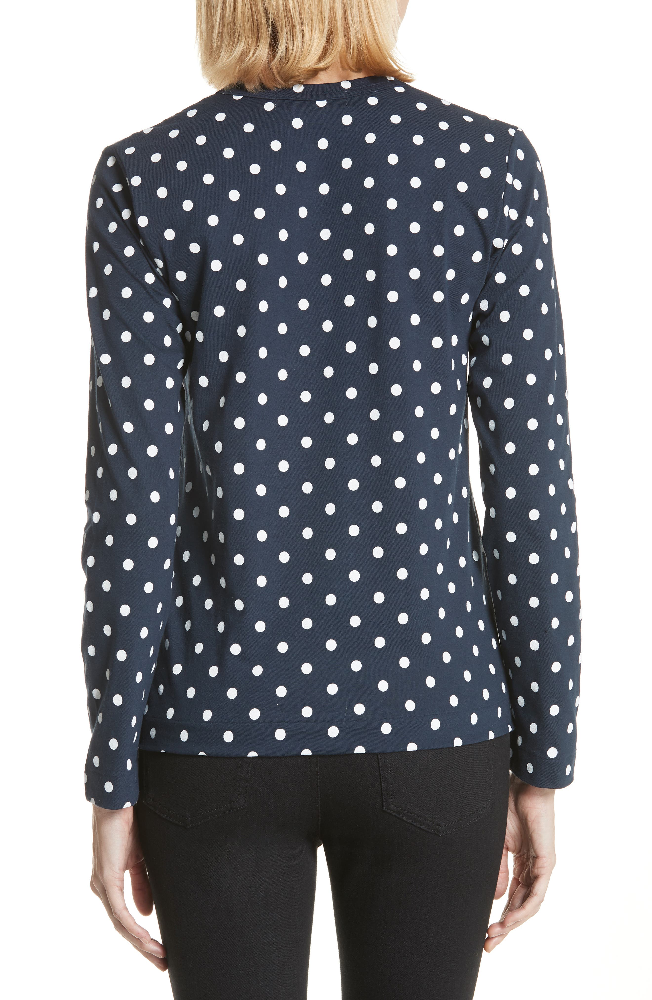 Comme des Garçons PLAY Red Heart Polka Dot Tee,                             Alternate thumbnail 2, color,                             Navy/ White