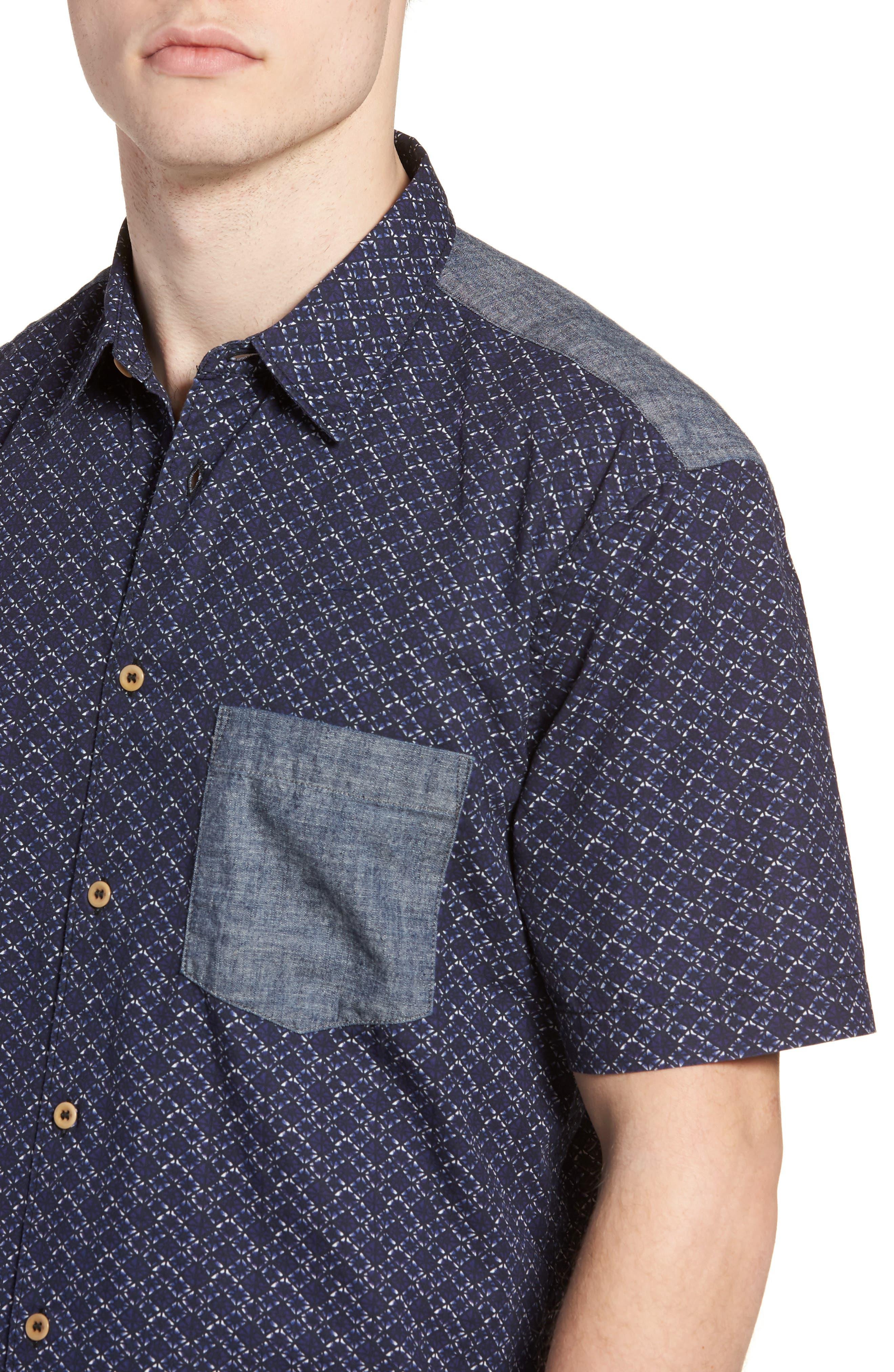Kast Relaxed Fit Short Sleeve Sport Shirt,                             Alternate thumbnail 4, color,                             Deep Cobalt