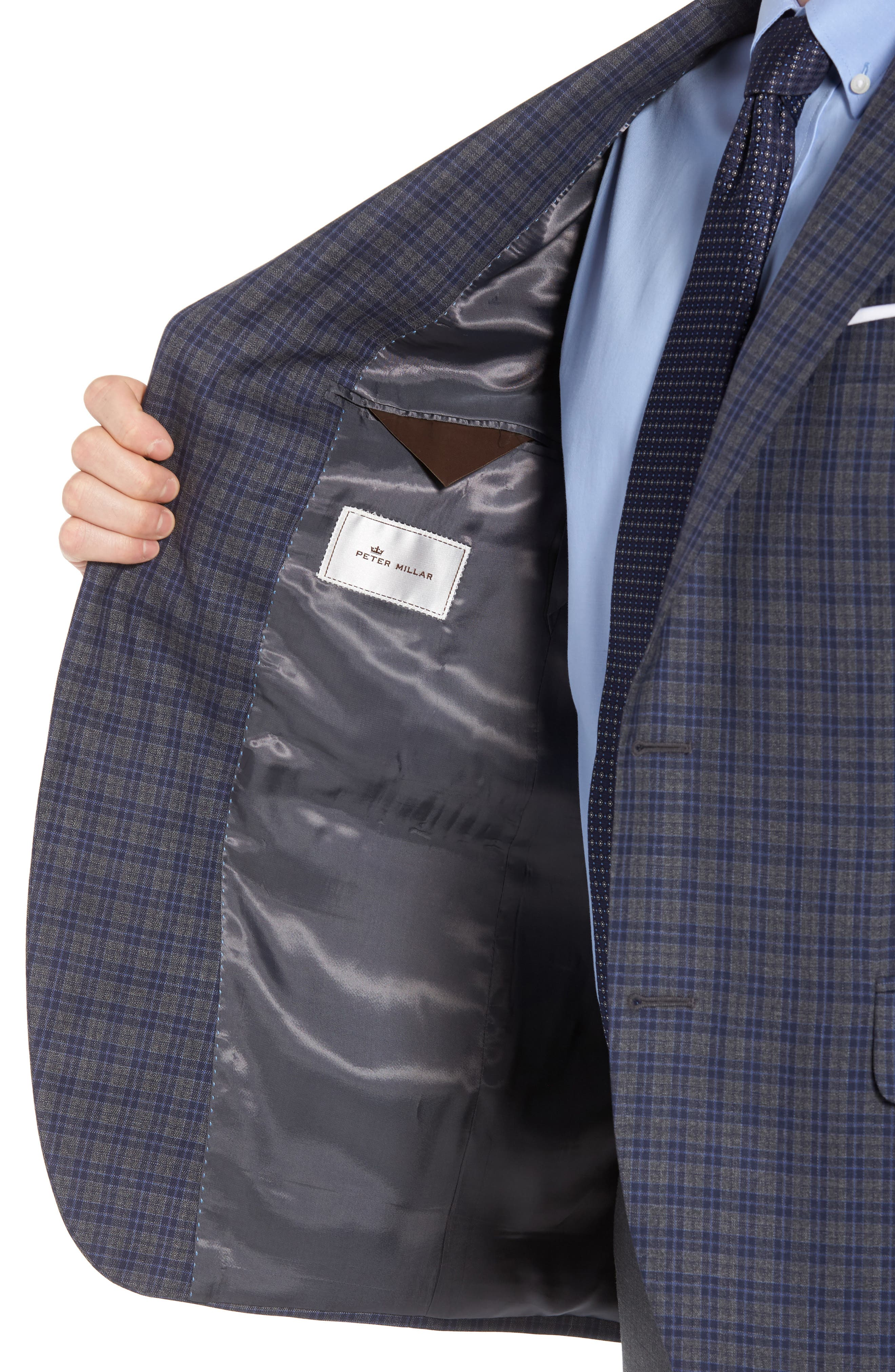 Classic Fit Check Wool Sport Coat,                             Alternate thumbnail 4, color,                             Grey/Blue