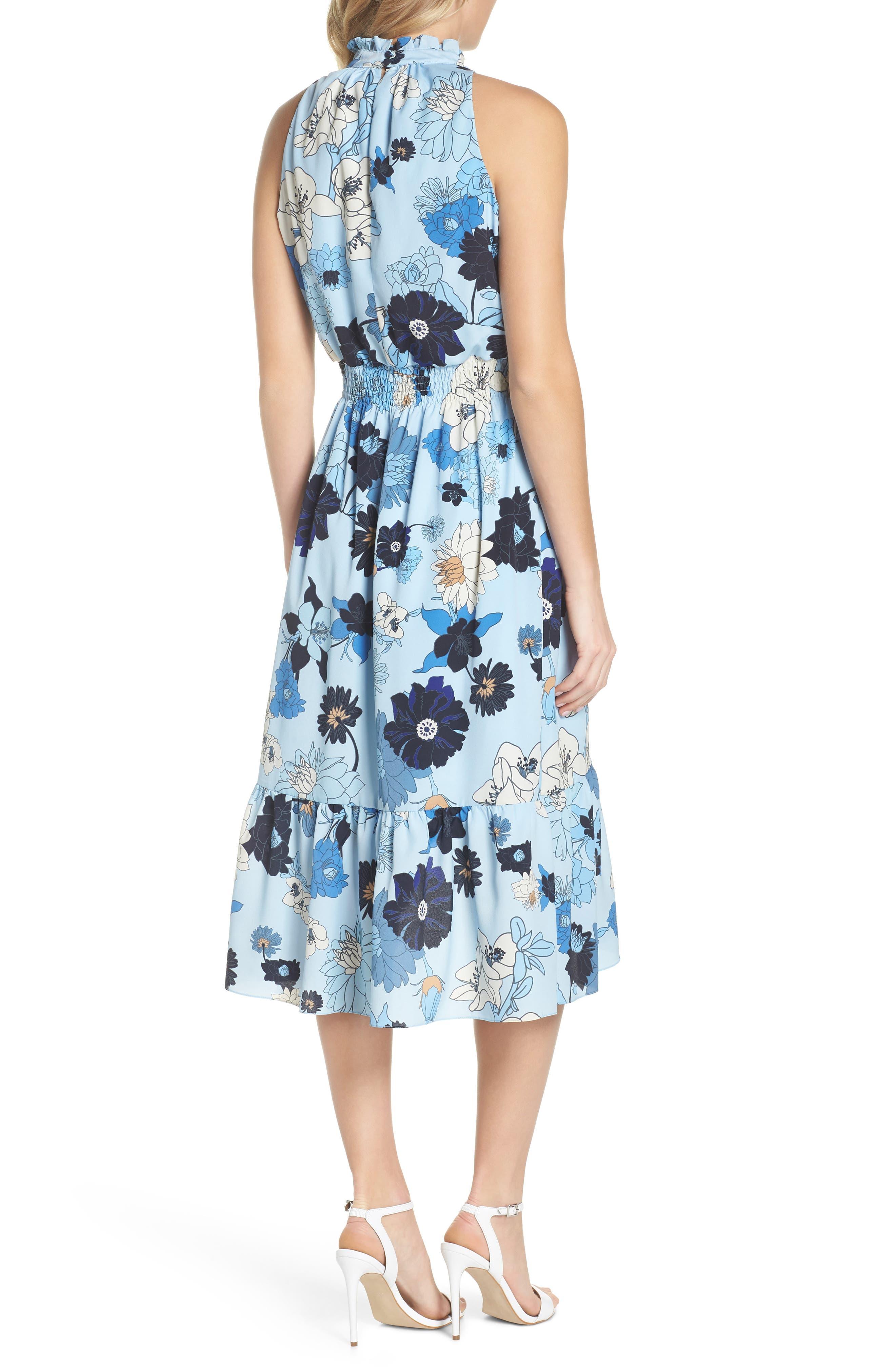 Floral Blouson Midi Dress,                             Alternate thumbnail 2, color,                             Light Blue