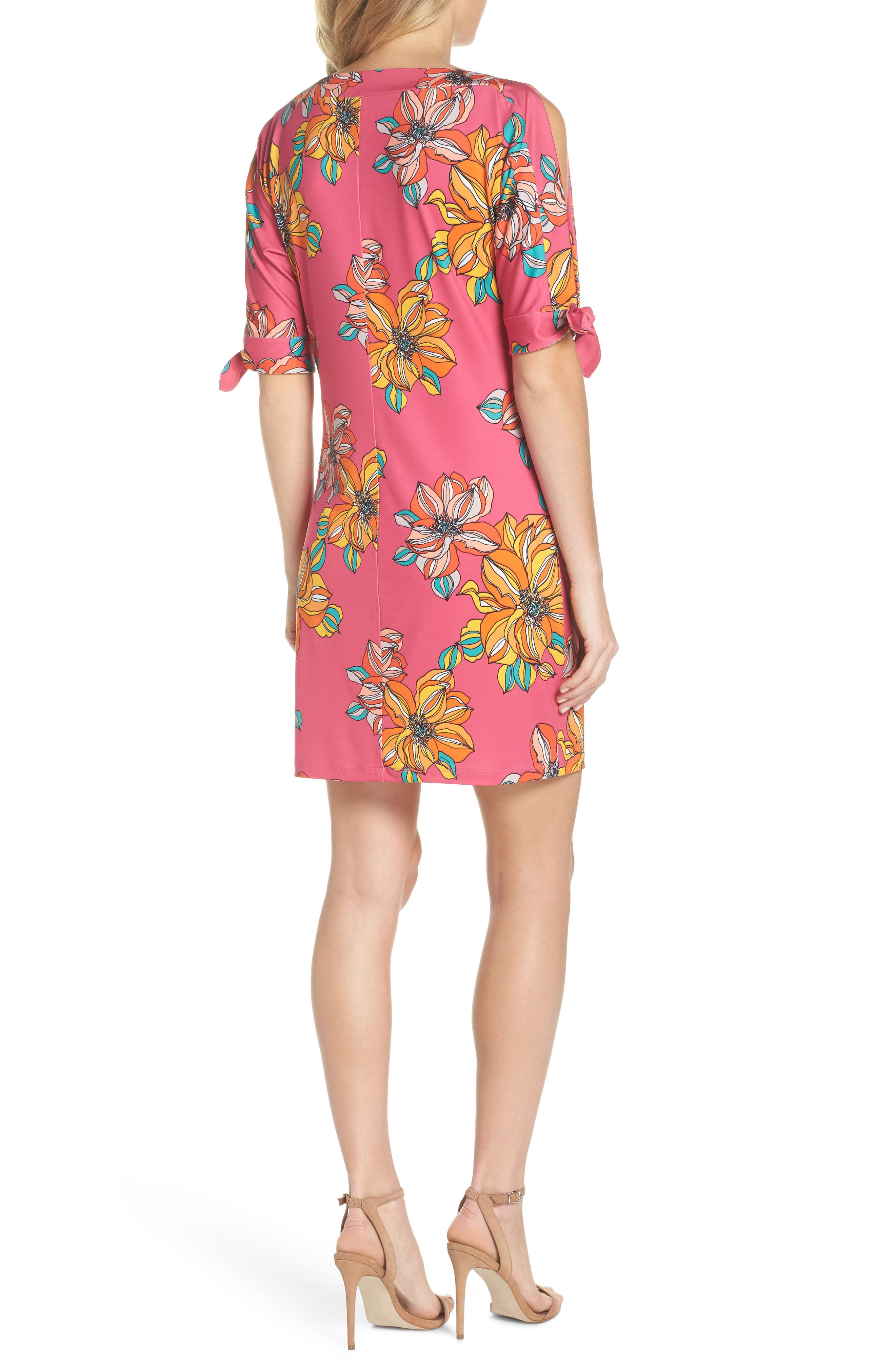Vinet Floral Jersey Dress,                             Alternate thumbnail 2, color,                             Peony