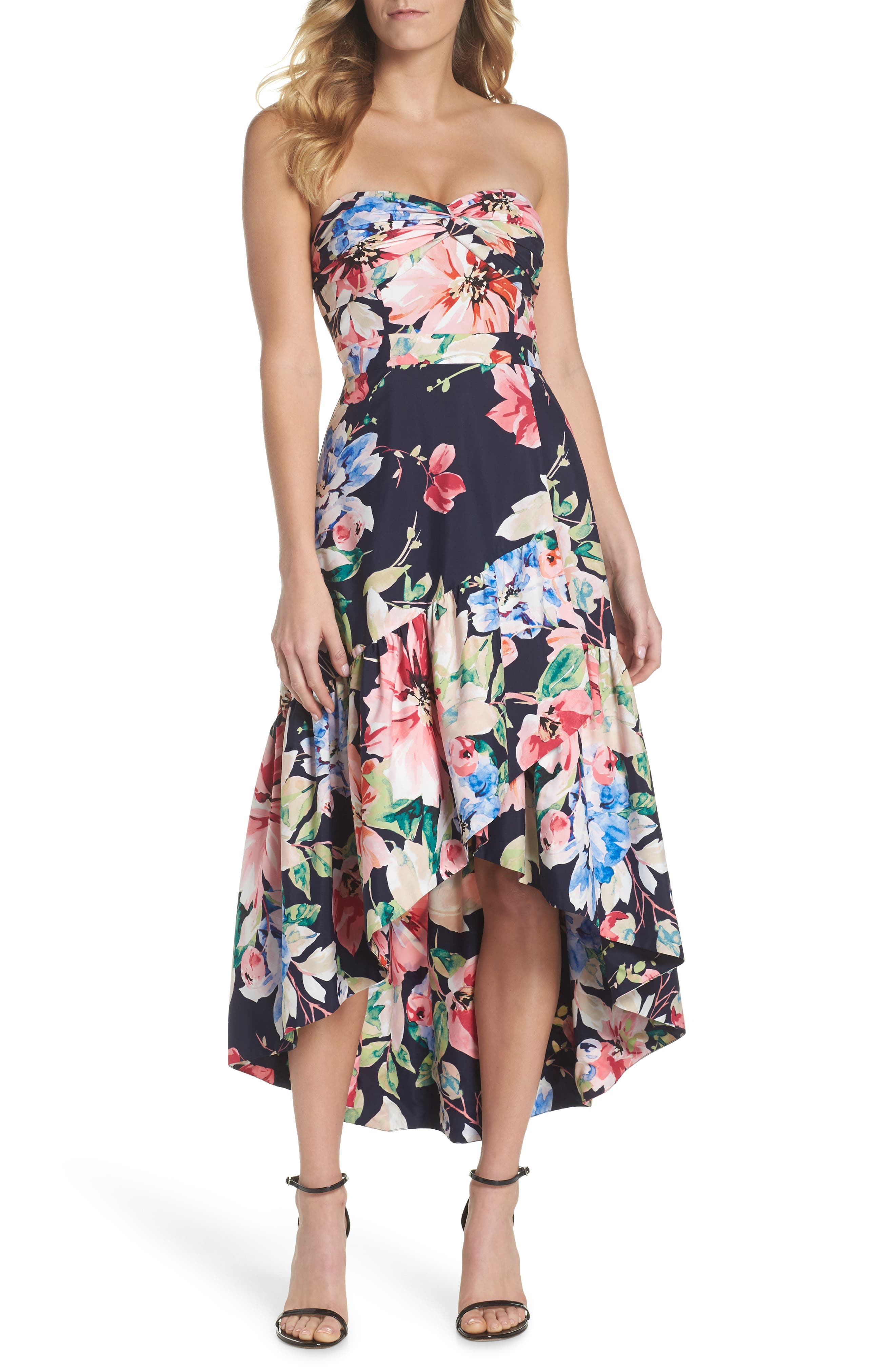 Strapless High/Low Dress,                             Main thumbnail 1, color,                             Navy/ Red
