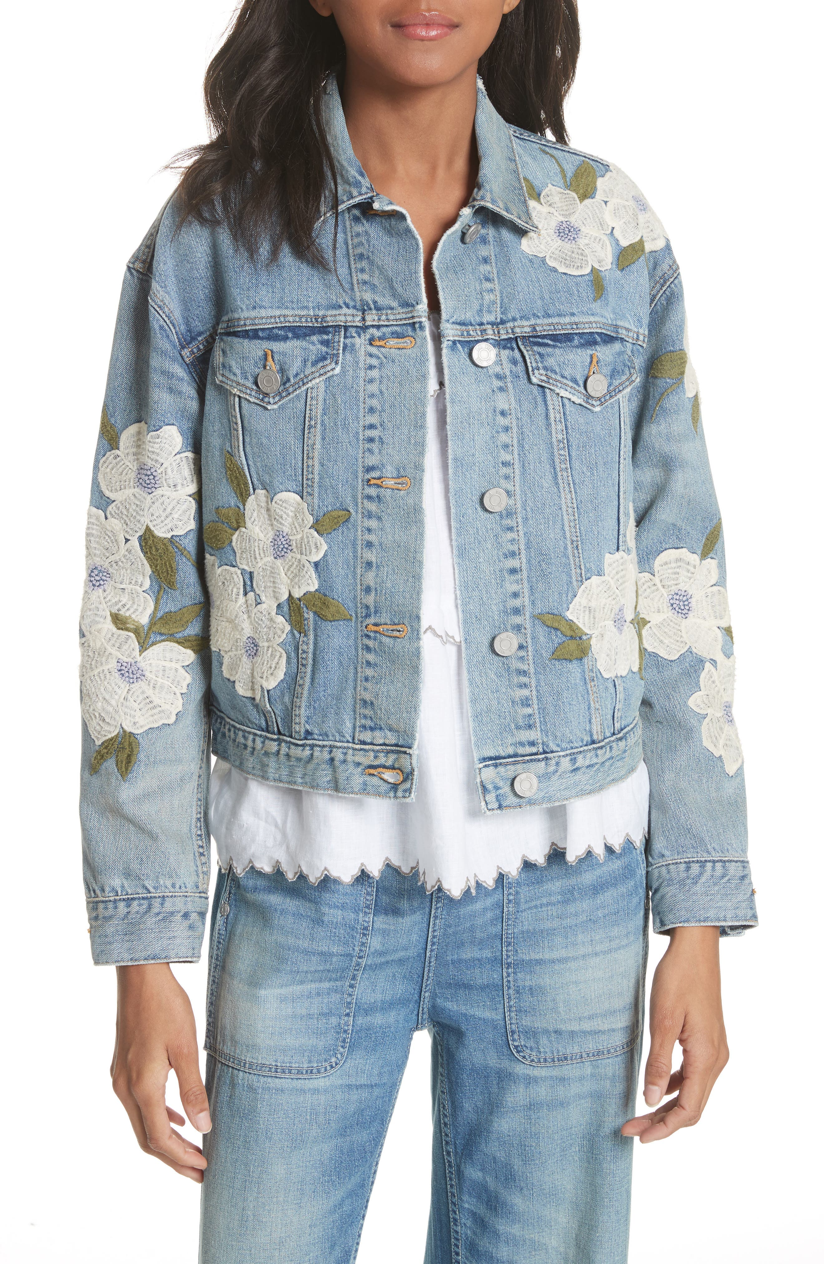 La Vie Rebecca Taylor Embroidered Denim Jacket