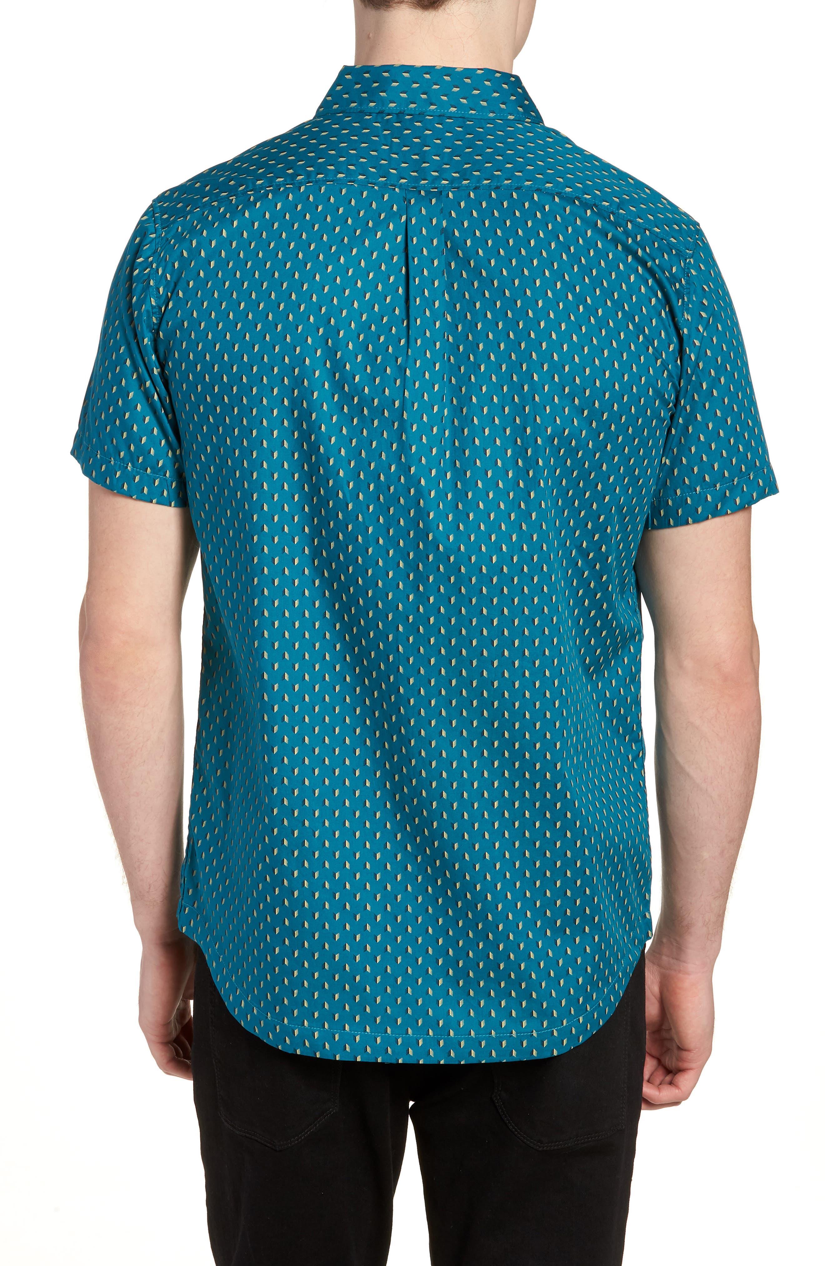 Arrowed Woven Shirt,                             Alternate thumbnail 3, color,                             Blue Tide