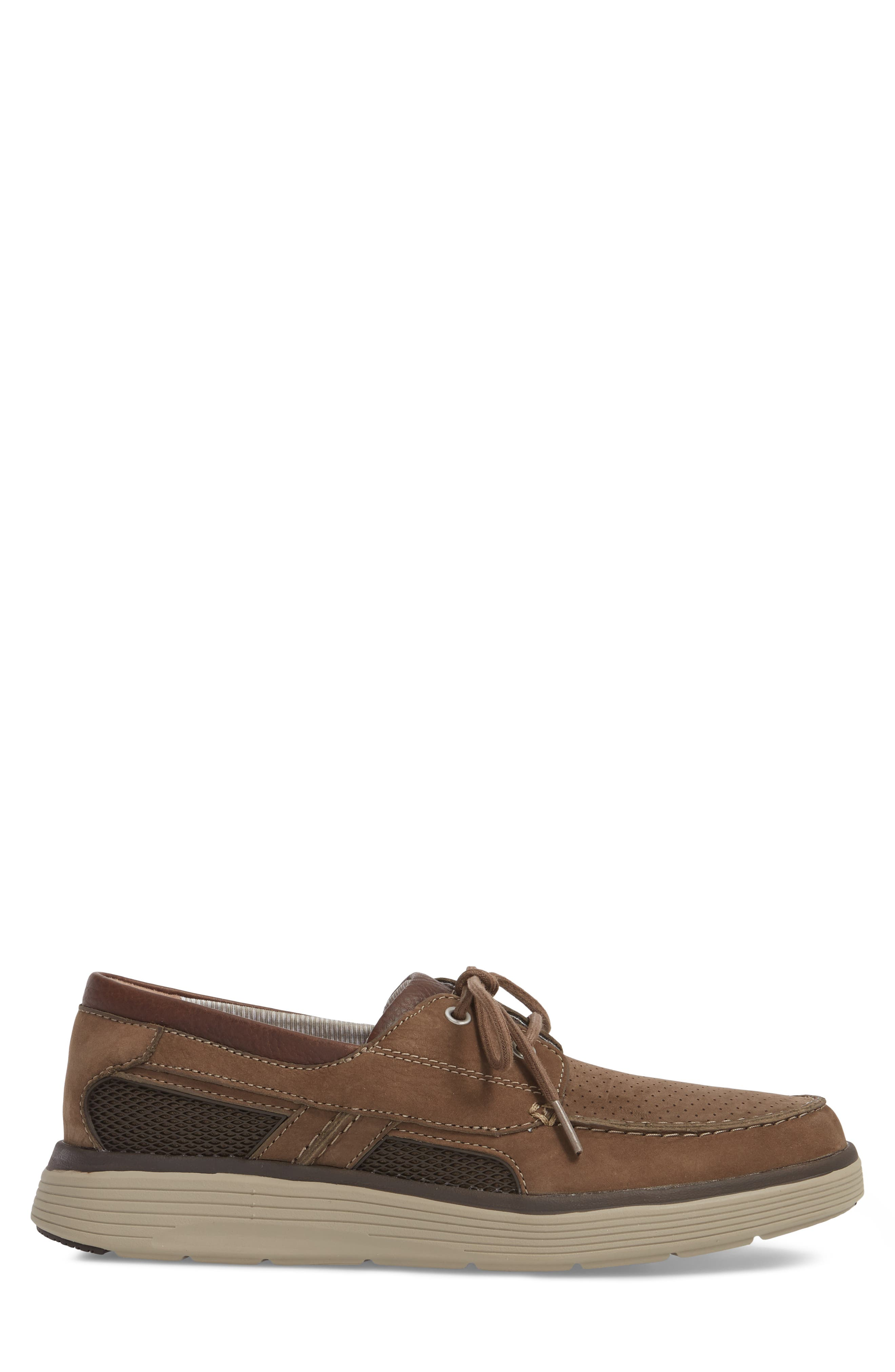 Clarks<sup>®</sup> Unabobe Step Boat Shoe,                             Alternate thumbnail 3, color,                             Olive Nubuck