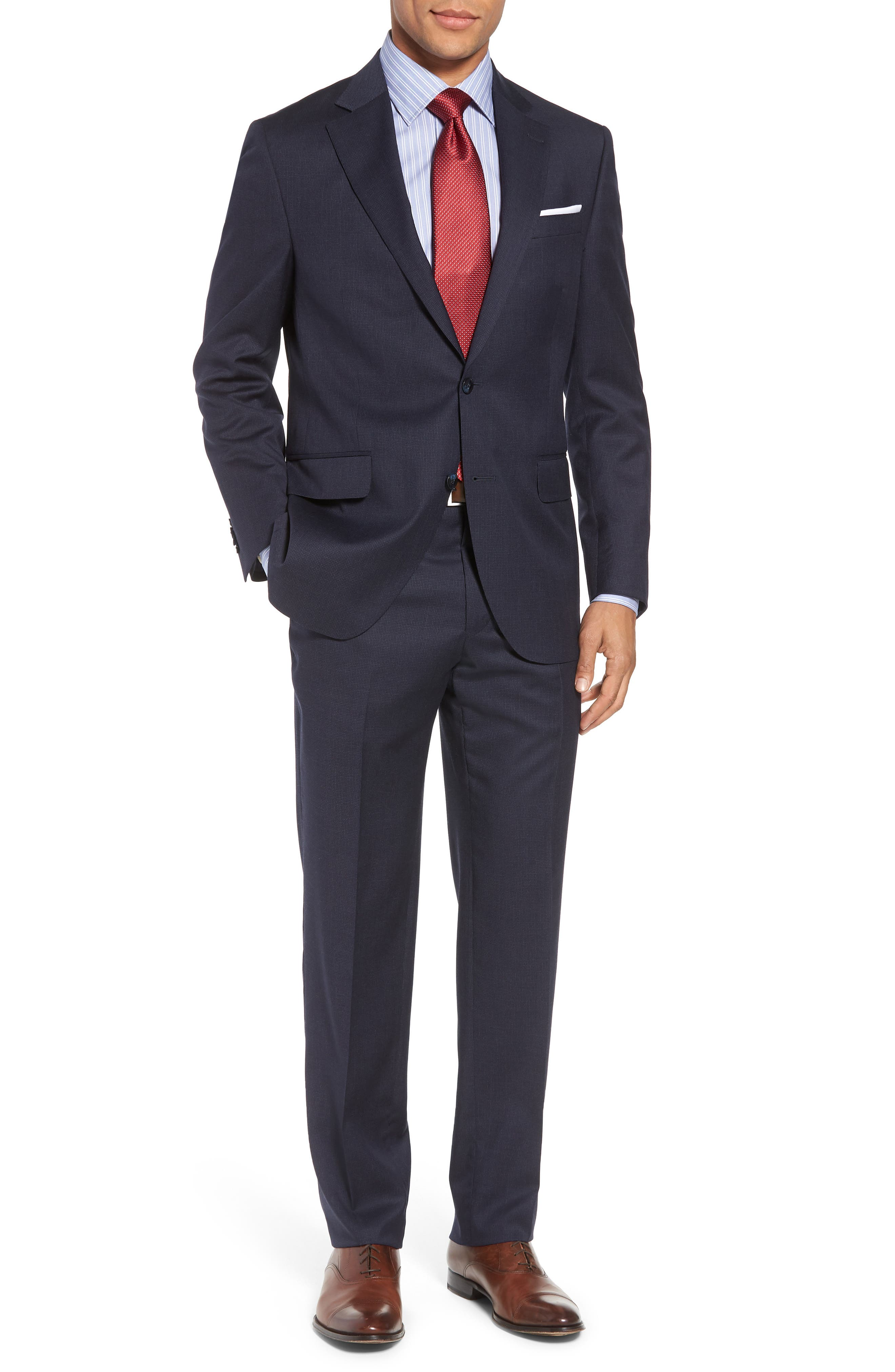 Classic Fit Check Wool Suit,                         Main,                         color, Navy