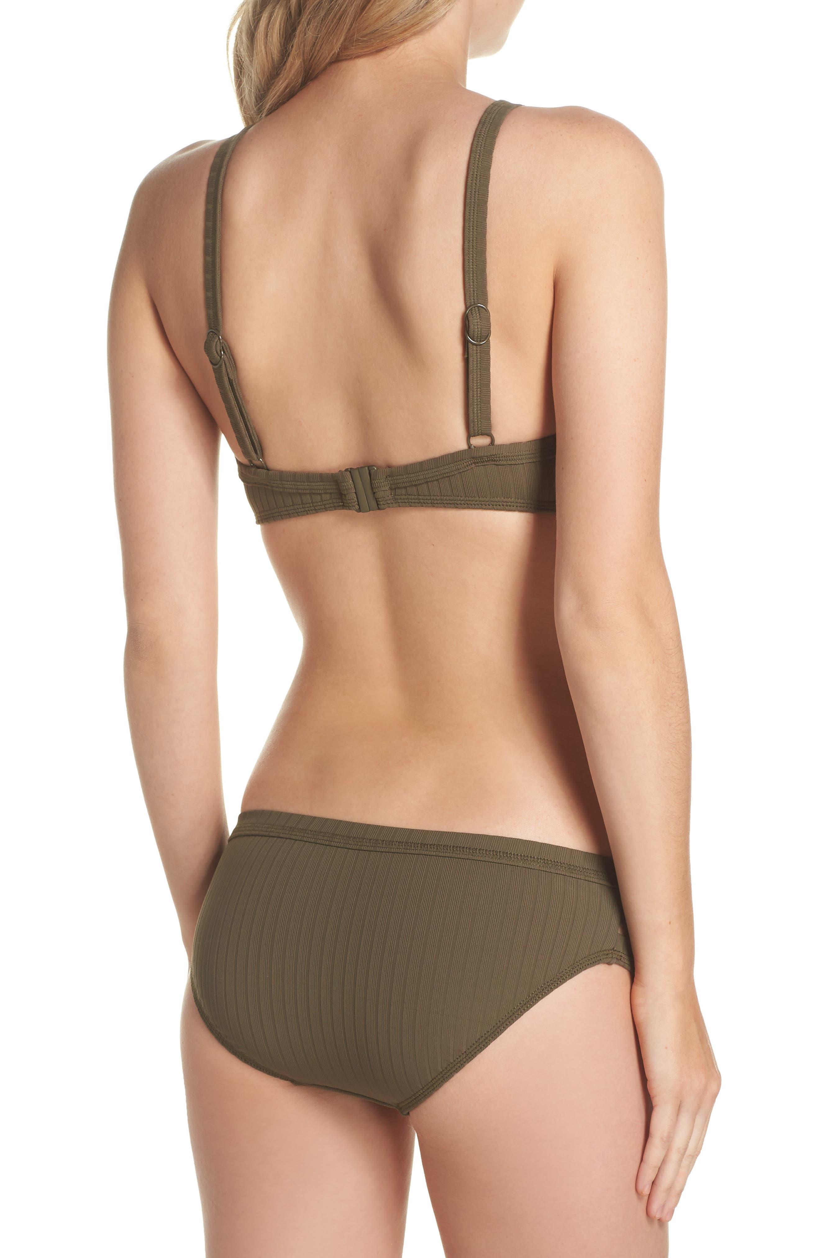 Inka Ribbed Lace-Up Bikini Top,                             Alternate thumbnail 6, color,                             Dark Olive