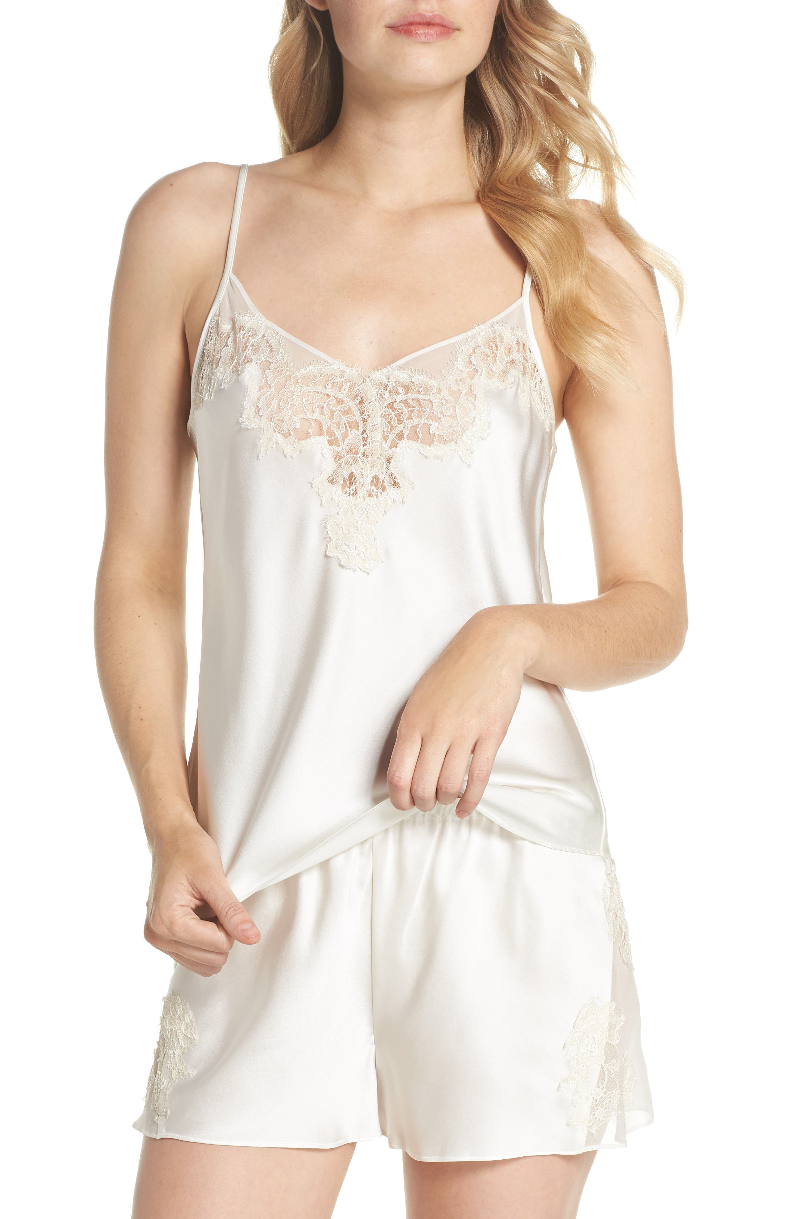 Lace Trim Short Silk Pajamas,                             Main thumbnail 1, color,                             Pearl / Champagne