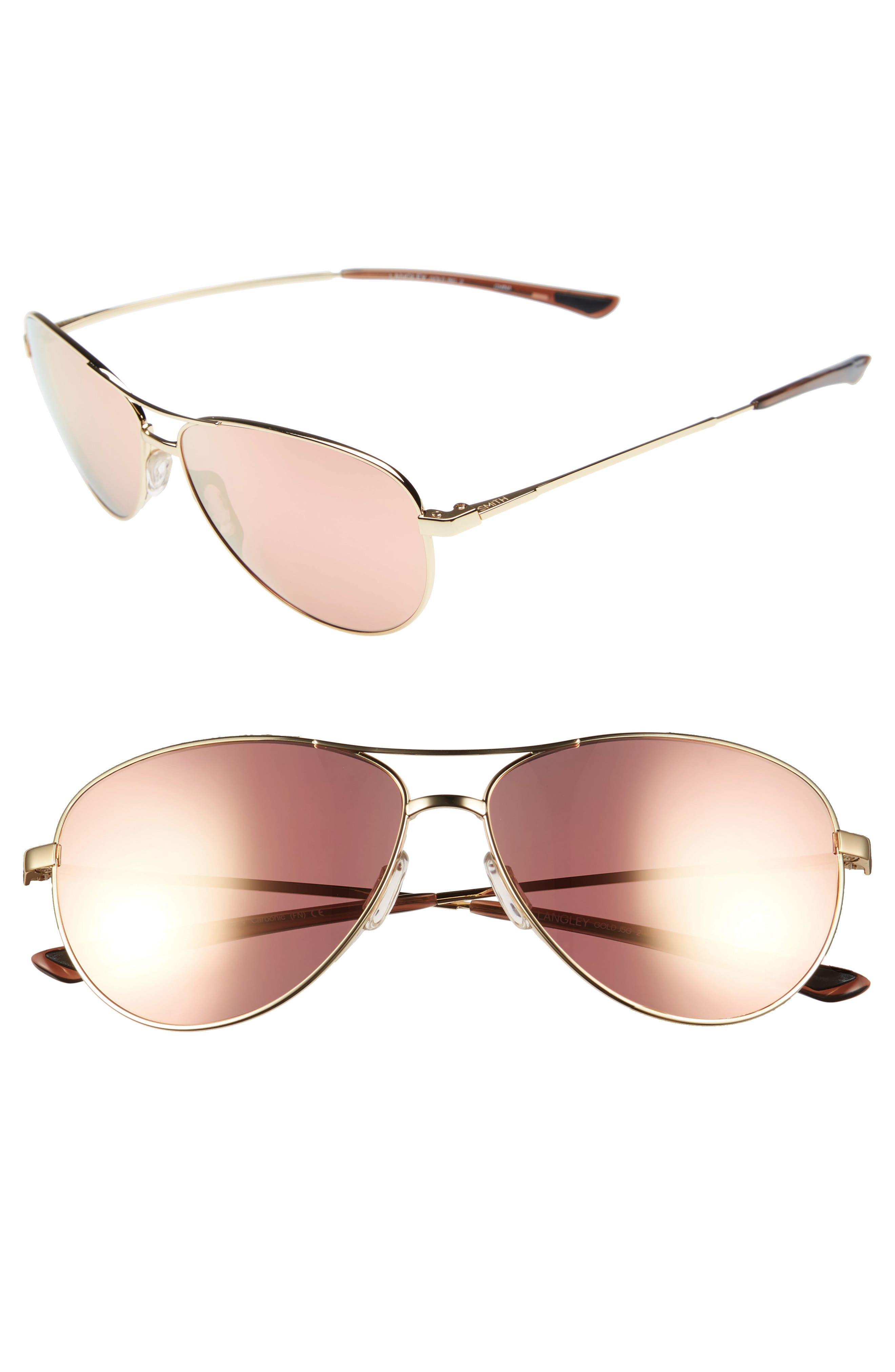 'LANGLEY' 60MM AVIATOR SUNGLASSES - GOLD