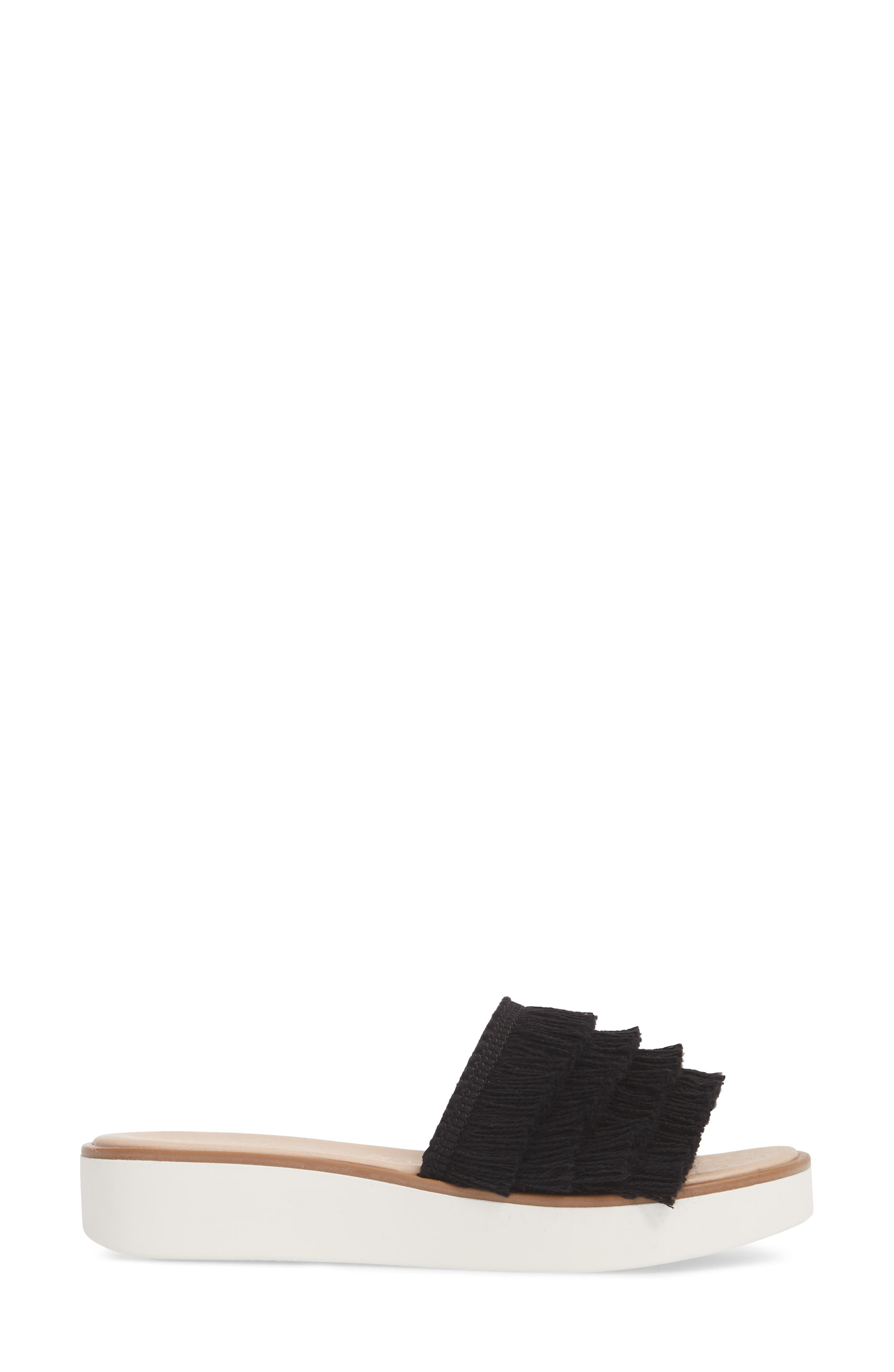 Well Rested Ruffle Slide Sandal,                             Alternate thumbnail 3, color,                             Black Fabric