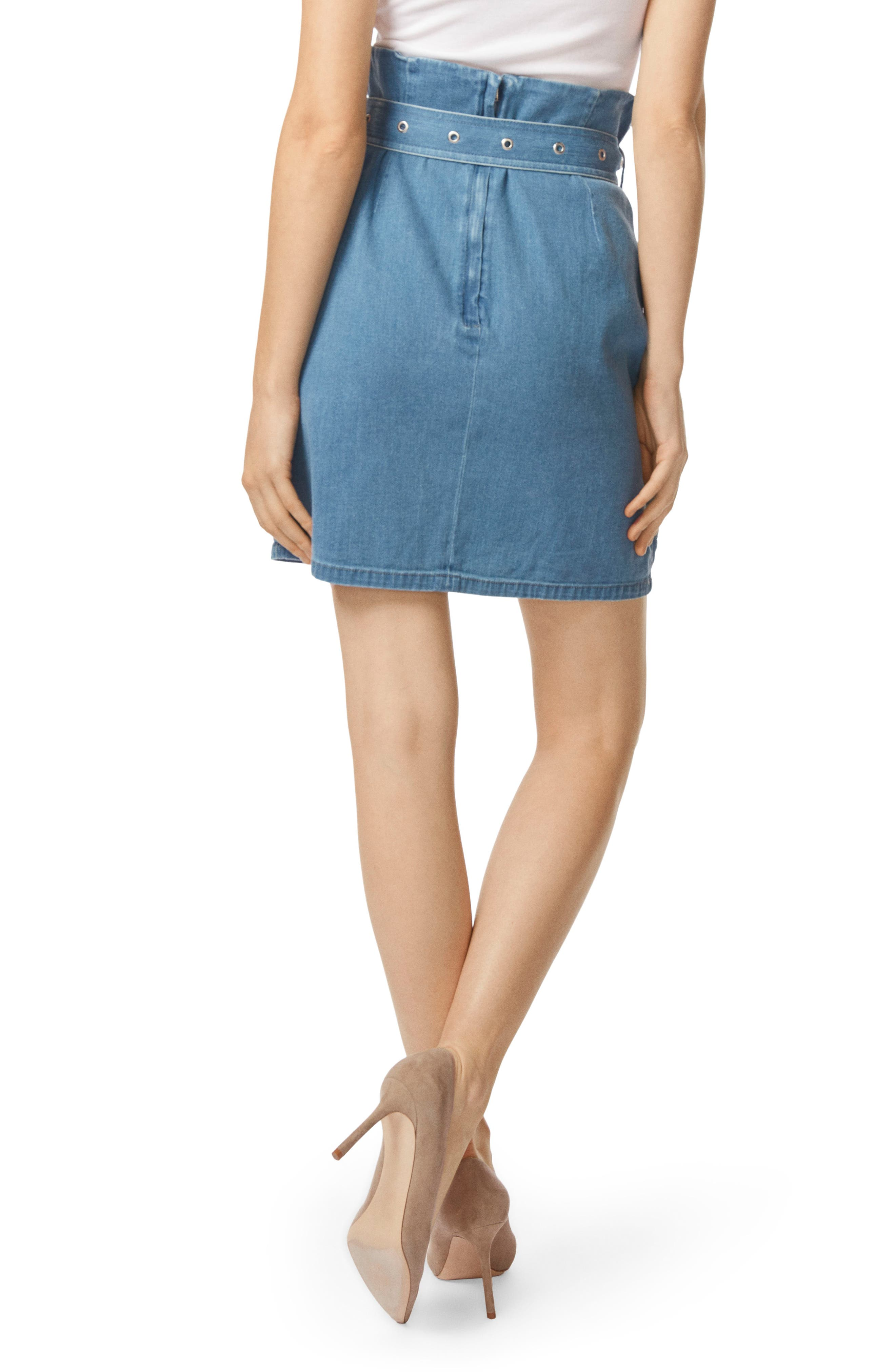 Tranquil Pleat Front Denim Skirt,                             Alternate thumbnail 2, color,                             Heavenly