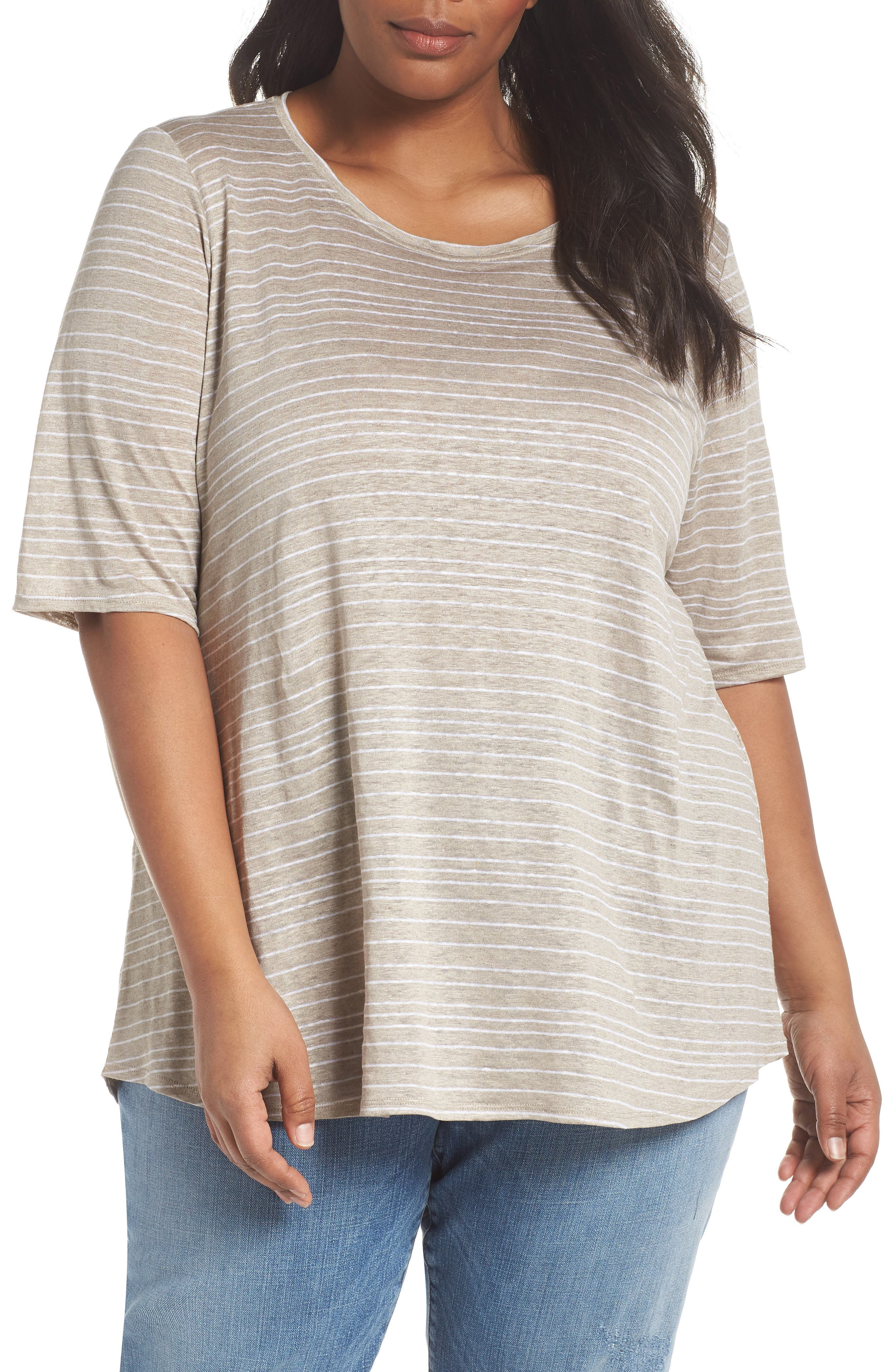 Stripe Organic Linen Top,                         Main,                         color, Natural