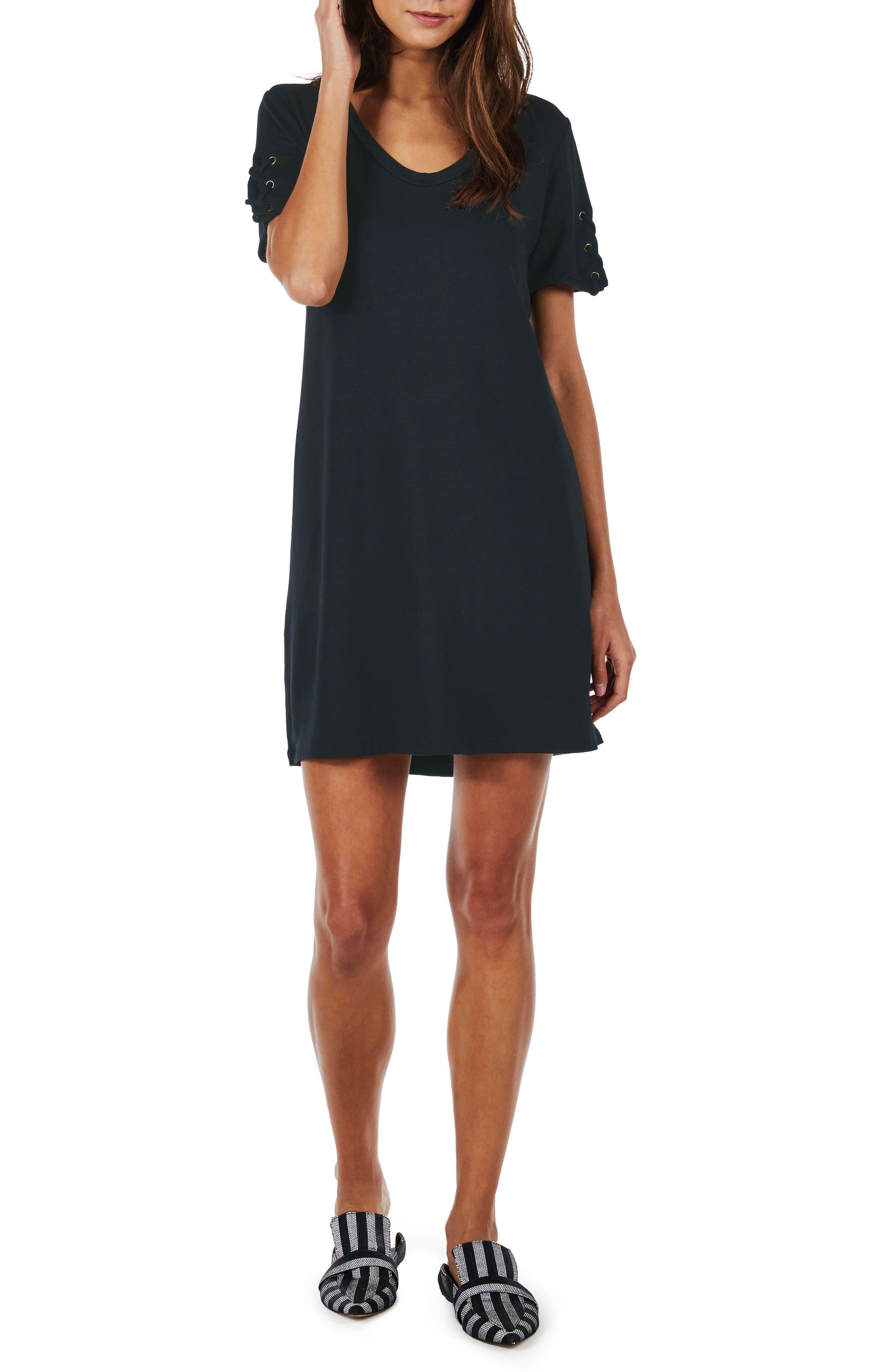 Lace-Up Sleeve Dress,                             Main thumbnail 1, color,                             Indigo