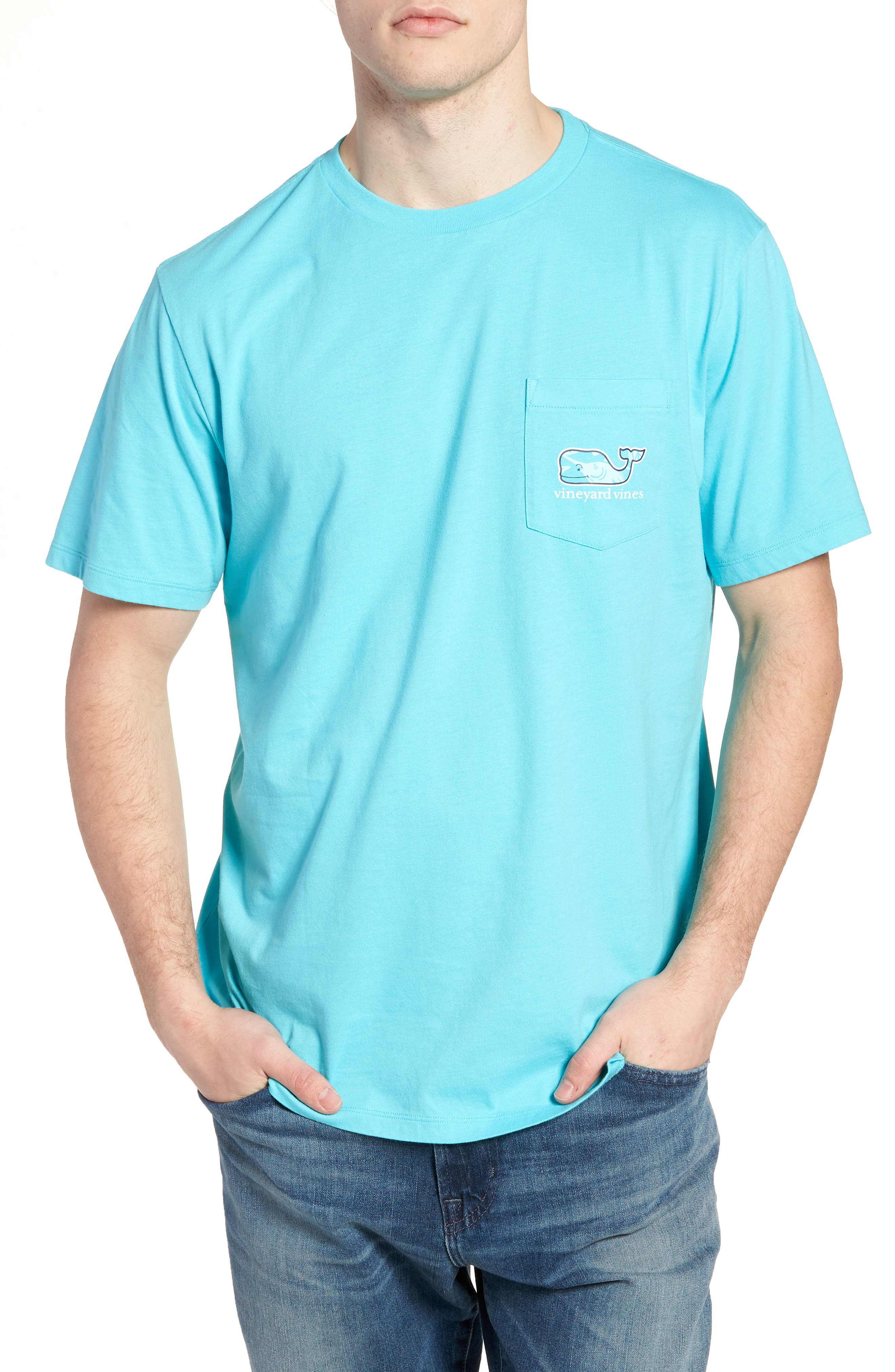 Marlin out of Water Whale Fill Pocket T-Shirt,                         Main,                         color, Turquoise