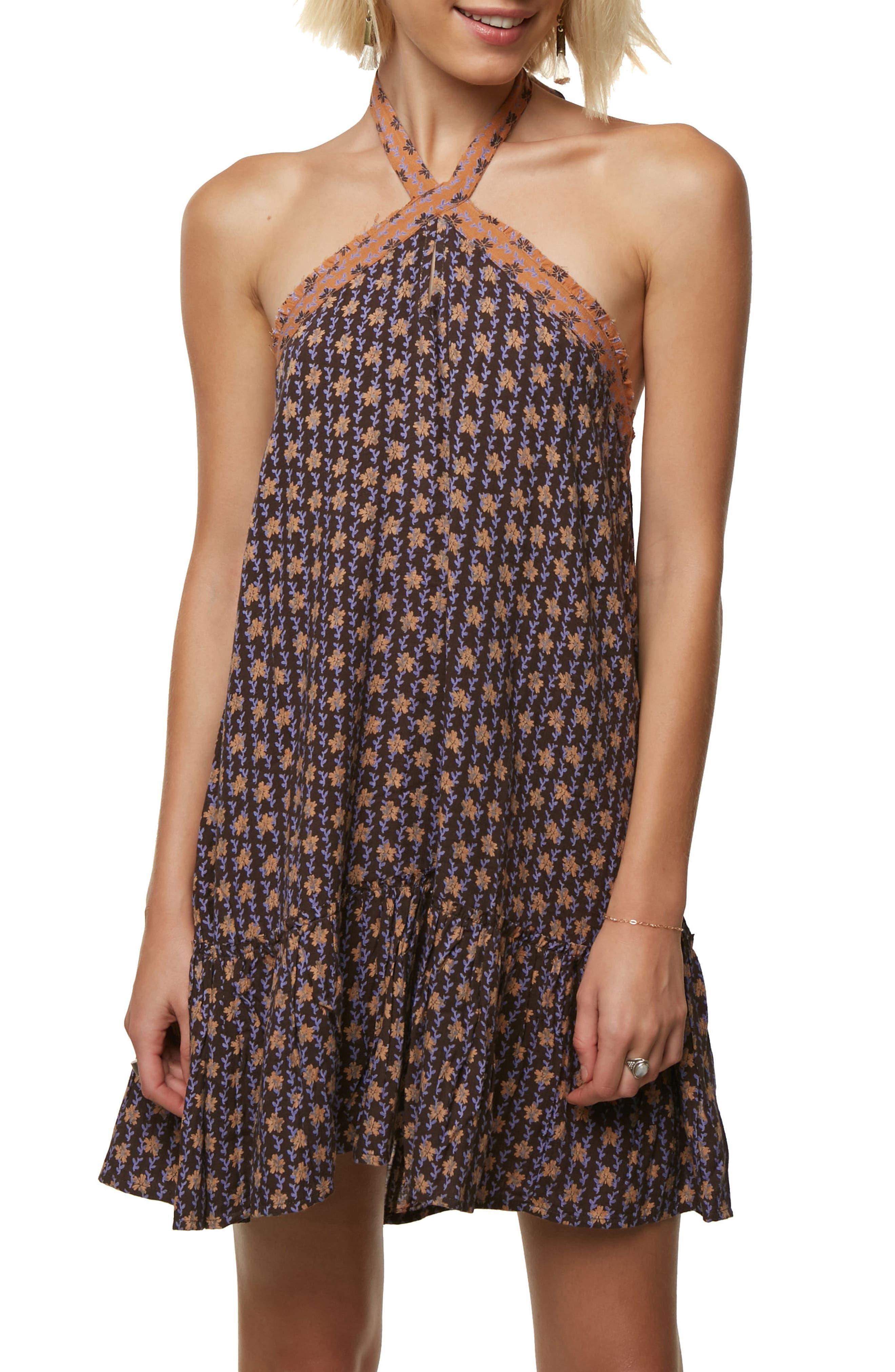 Laila Halter Neck Dress,                         Main,                         color, After Dark