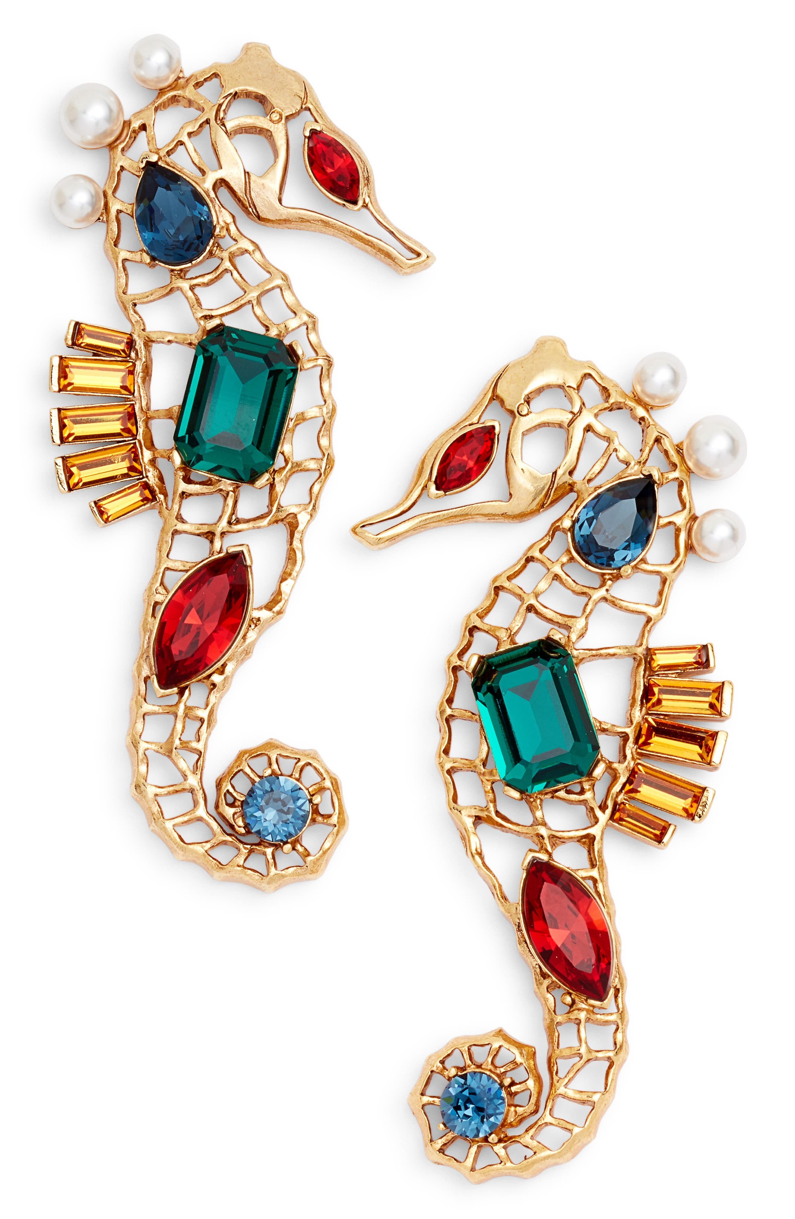 Oscar de la Renta Jeweled Seahorse Earrings