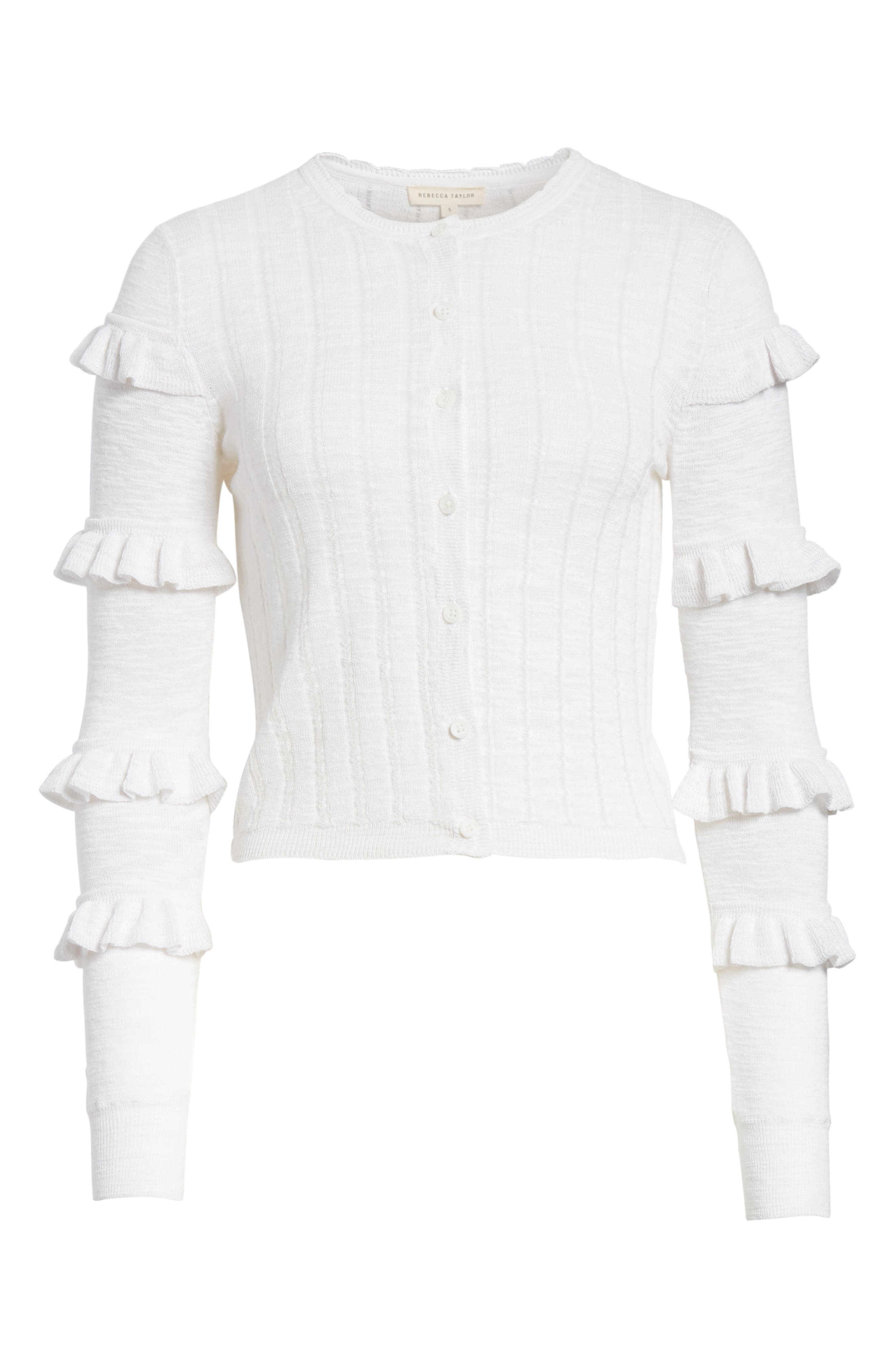 Tiered Ruffle Sleeve Cotton Blend Cardigan,                             Alternate thumbnail 6, color,                             Snow