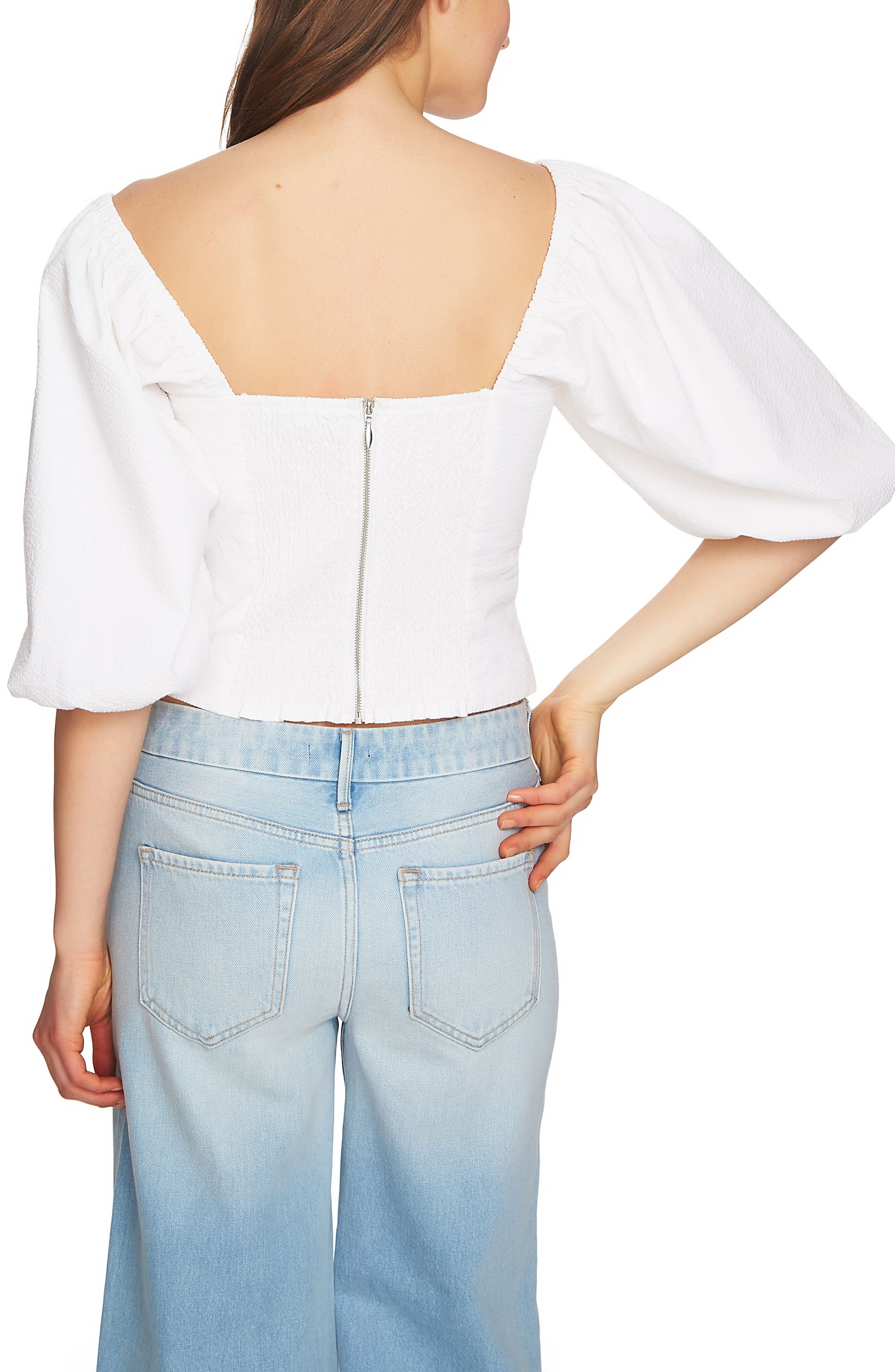 Puff Sleeve Crop Top,                             Alternate thumbnail 2, color,                             Ultra White