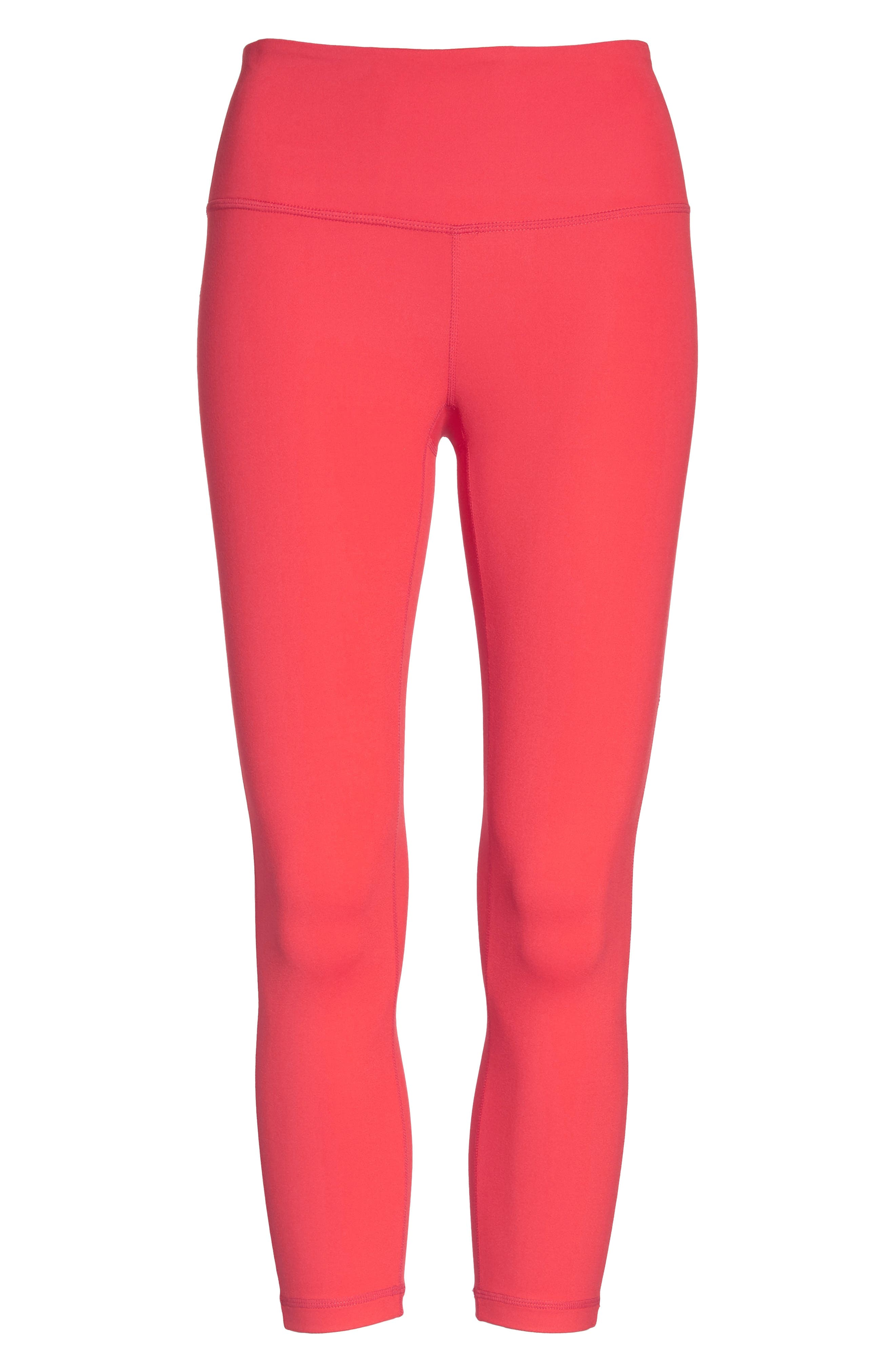 Live In Lite Crop Leggings,                             Alternate thumbnail 4, color,                             Red Hibiscus