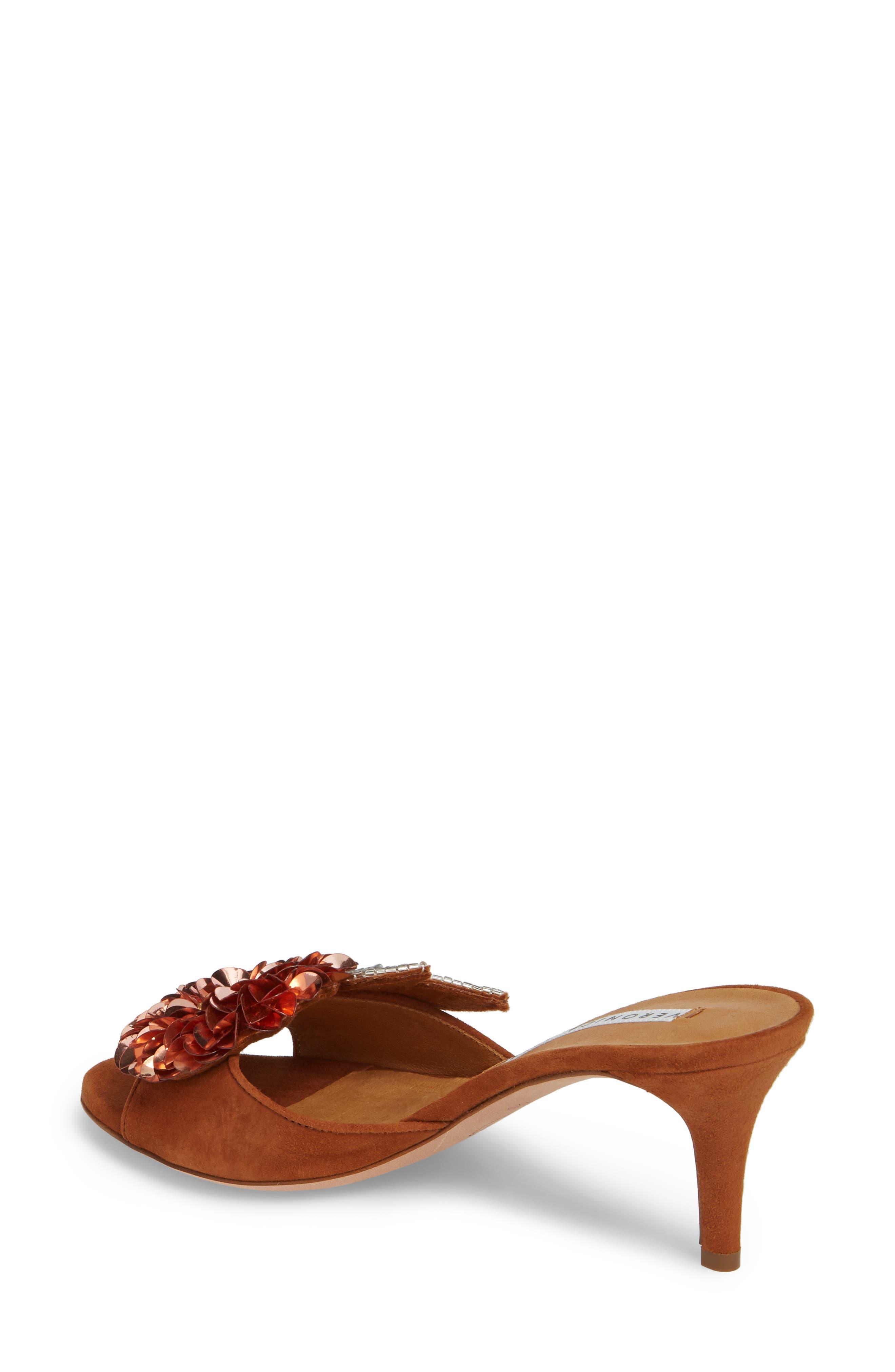 Nev Embellished Slide Sandal,                             Alternate thumbnail 2, color,                             Cognac