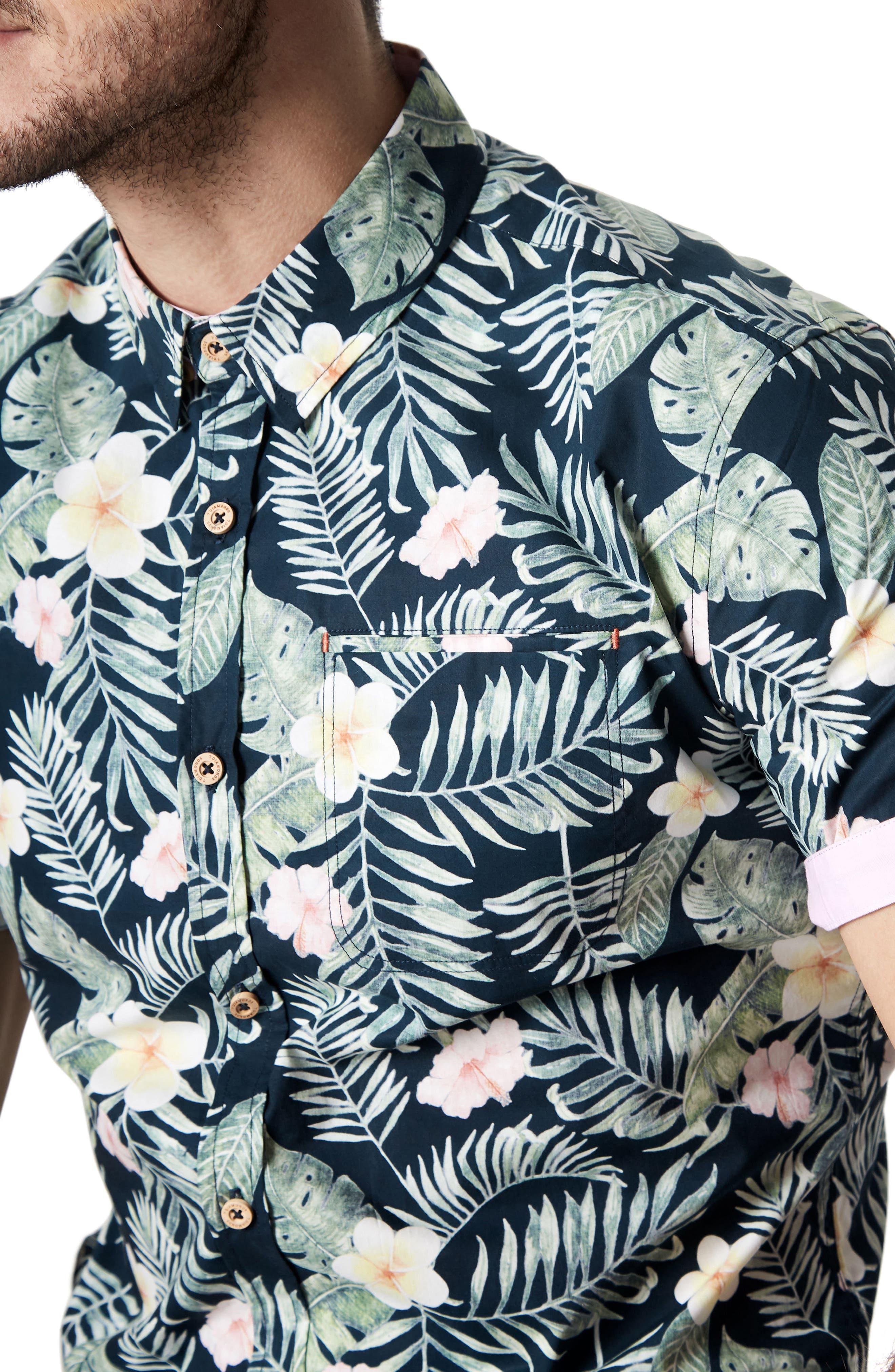 Zanzibar Trim Fit Short Sleeve Sport Shirt,                             Alternate thumbnail 4, color,                             Black