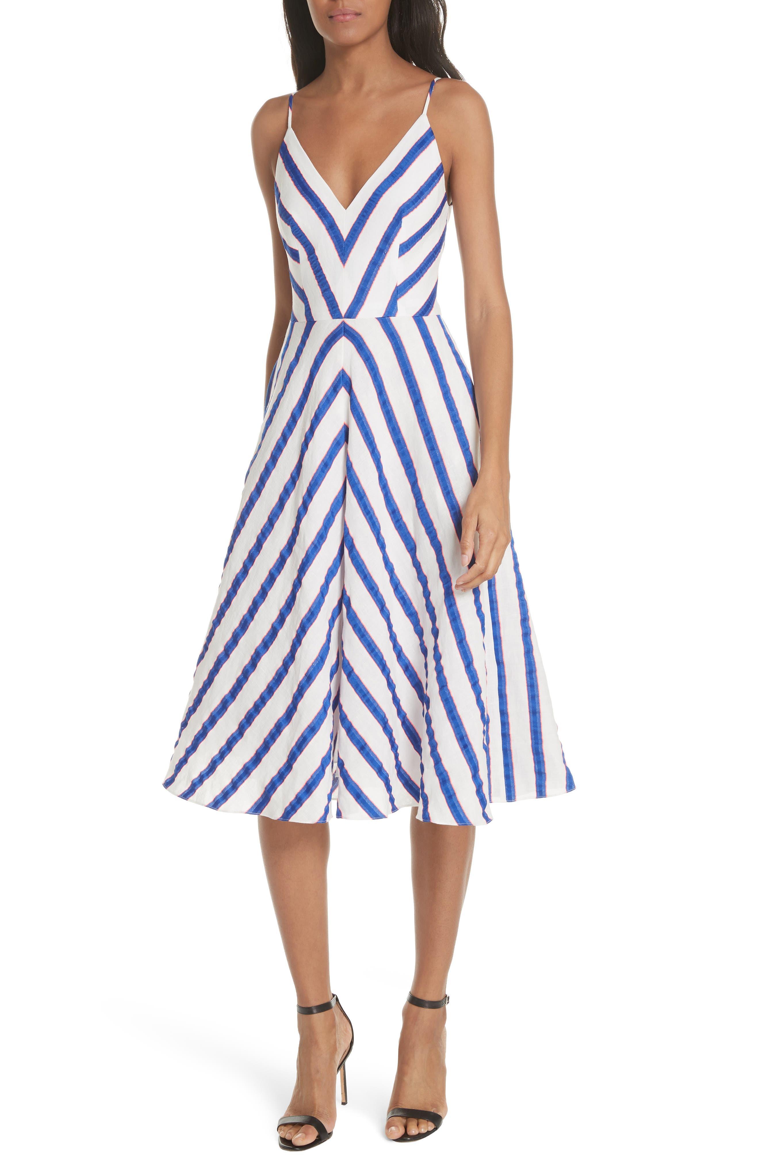 Stripe Washed Linen Blend Sundress,                         Main,                         color, Cobalt
