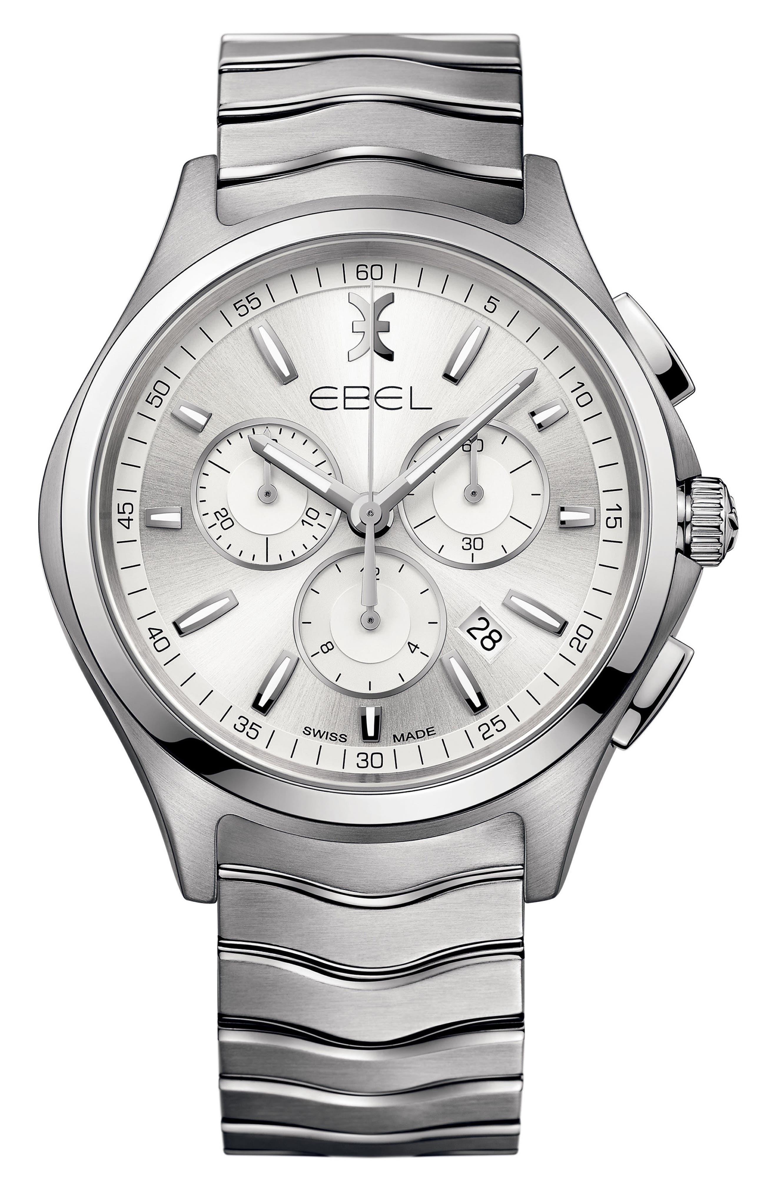 Wave Chronograph Bracelet Watch, 42mm,                         Main,                         color, Silver