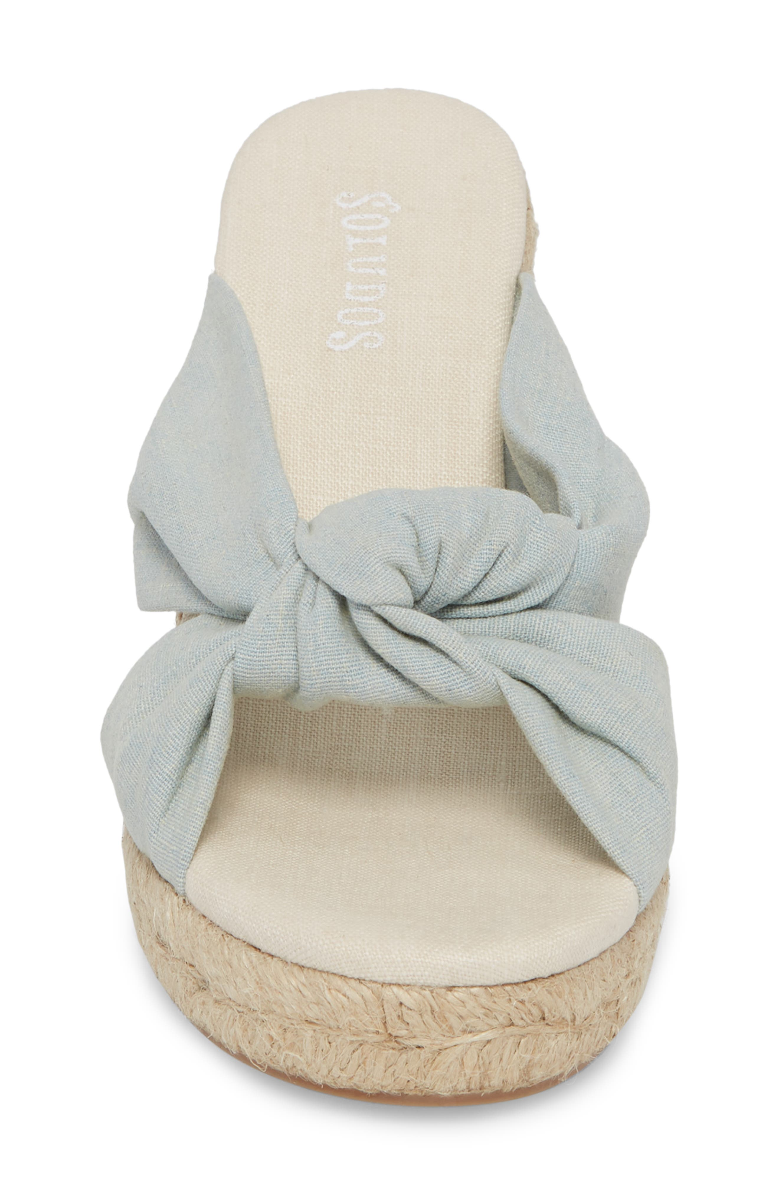 Knotted Espadrille Wedge Sandal,                             Alternate thumbnail 4, color,                             Chambray