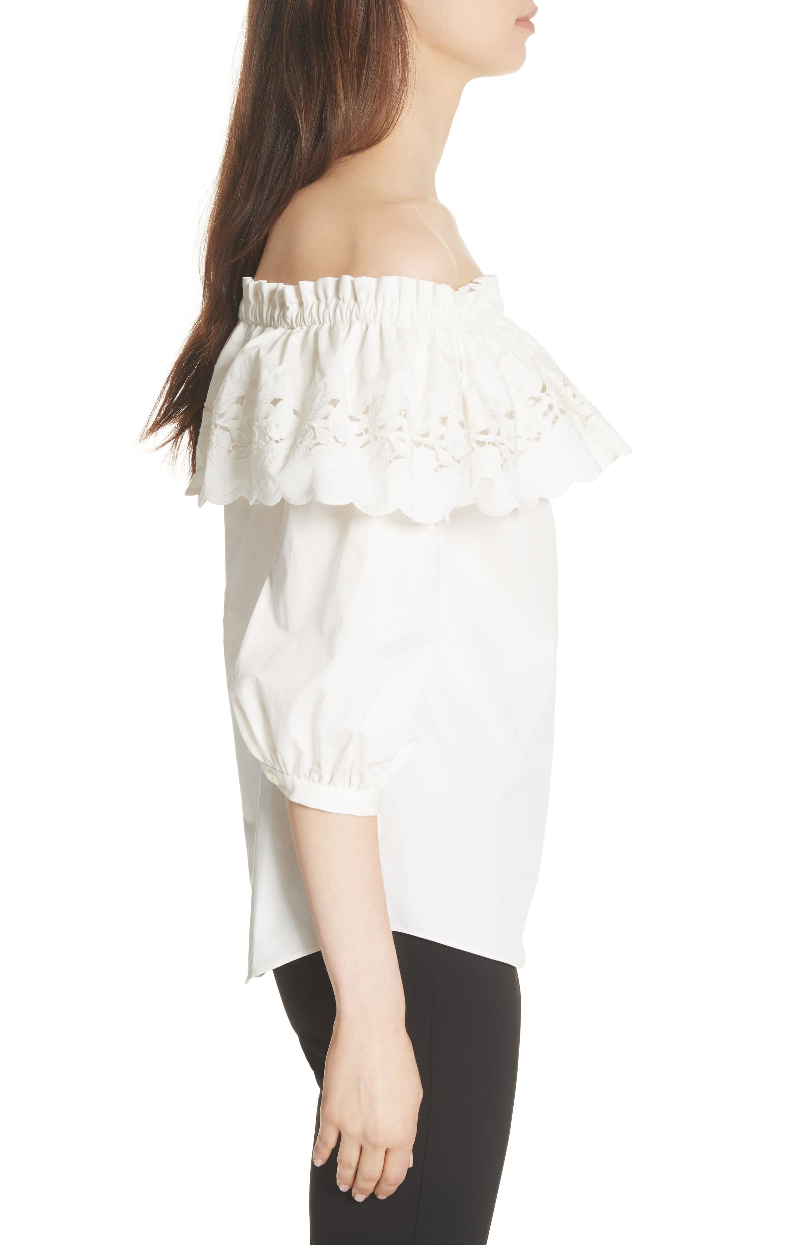 cutwork off the shoulder top,                             Alternate thumbnail 3, color,                             Fresh White